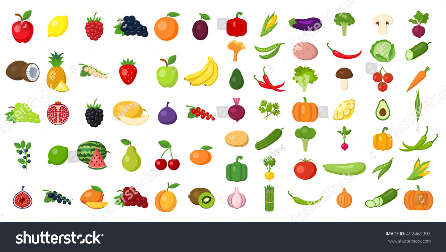 set fruits vegetables stock illustration 492469993 shutterstock