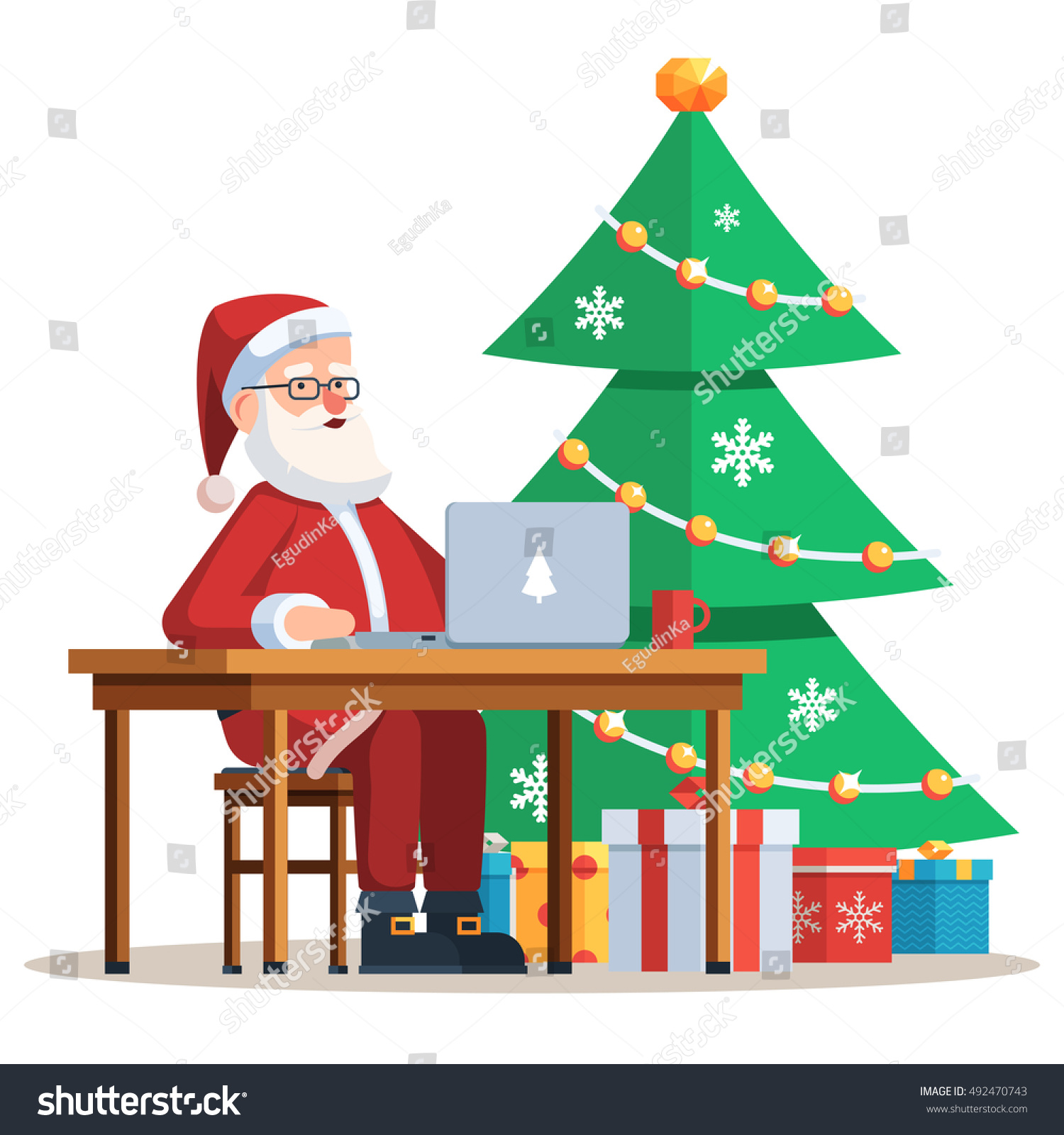 Modern Santa Claus Sitting At Desk And Working On His