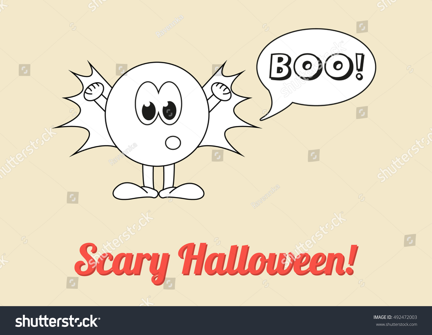 Seasonal Poster   Scary Halloween With White Ghost Saying Boo! Vintage  Coloring