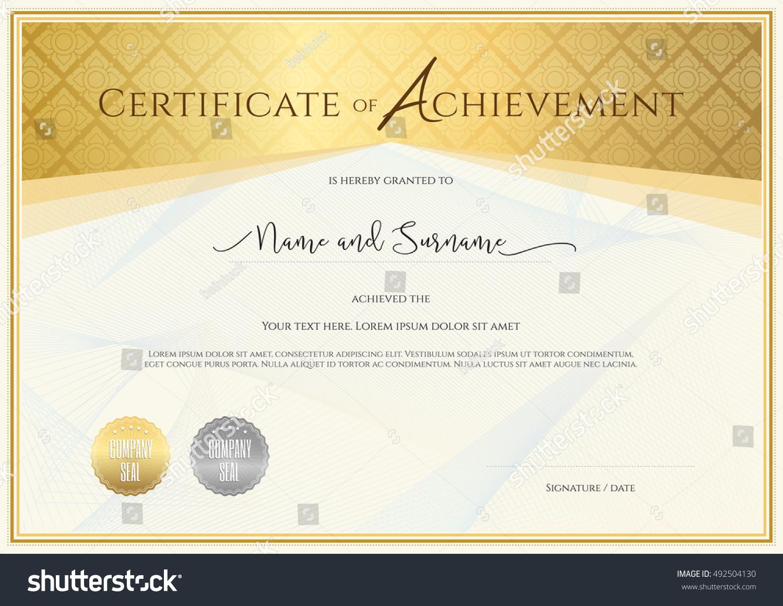 Certificate template achievement appreciation completion certificate template achievement appreciation completion participation stock vector 492504130 shutterstock xflitez Image collections