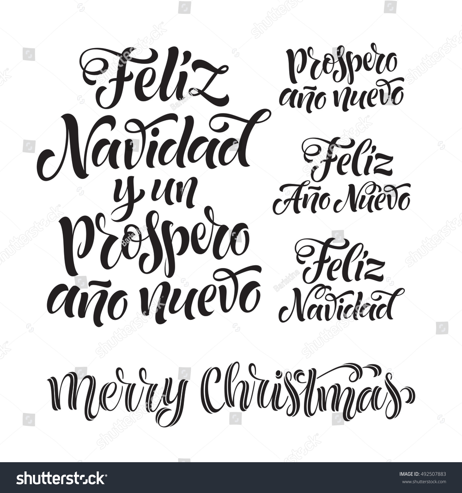 vector spanish merry christmas happy new stock vector. Black Bedroom Furniture Sets. Home Design Ideas