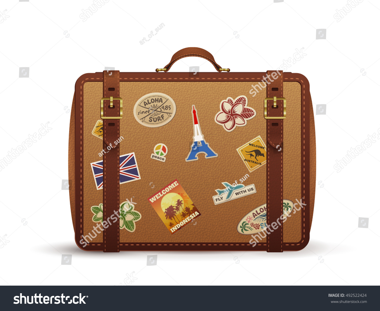 Old vintage leather suitcase with travel stickers vector illustration isolated on white