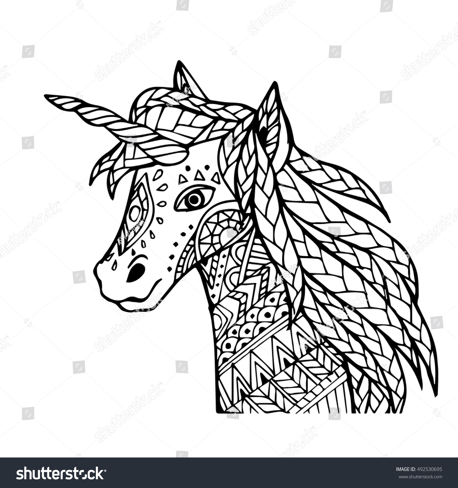 Vector Of Hand Draw Unicorn In Zentangle Style