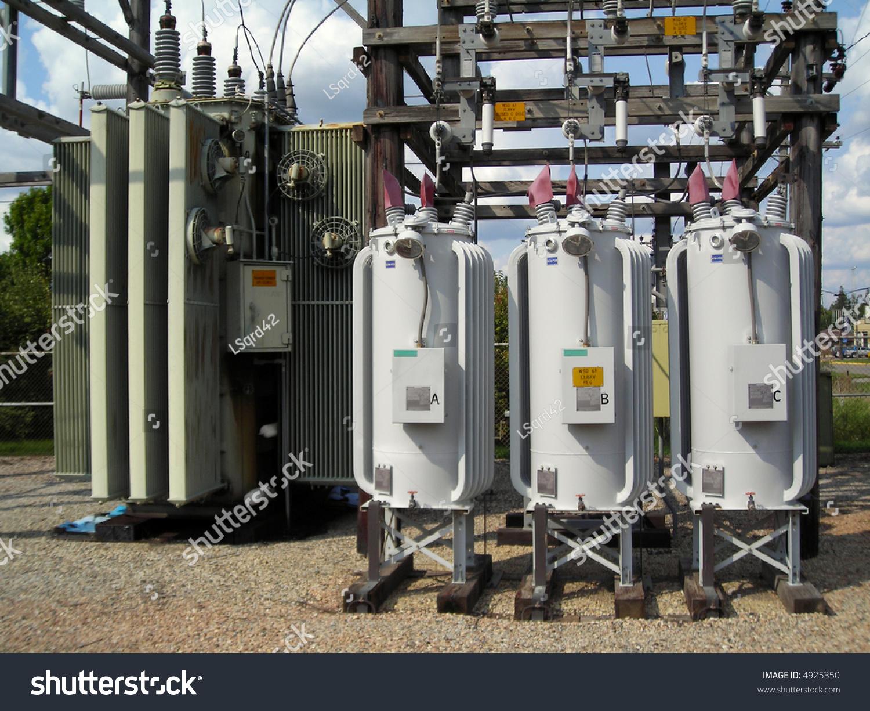 Distribution substation voltage regulators stock photo for Distribution substation