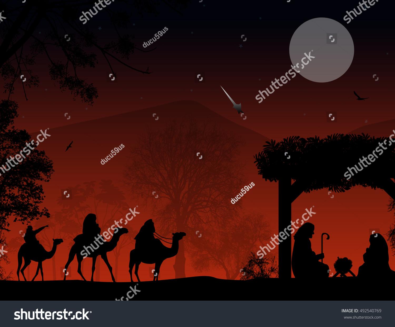 Christmas nativity scene baby jesus manger stock vector