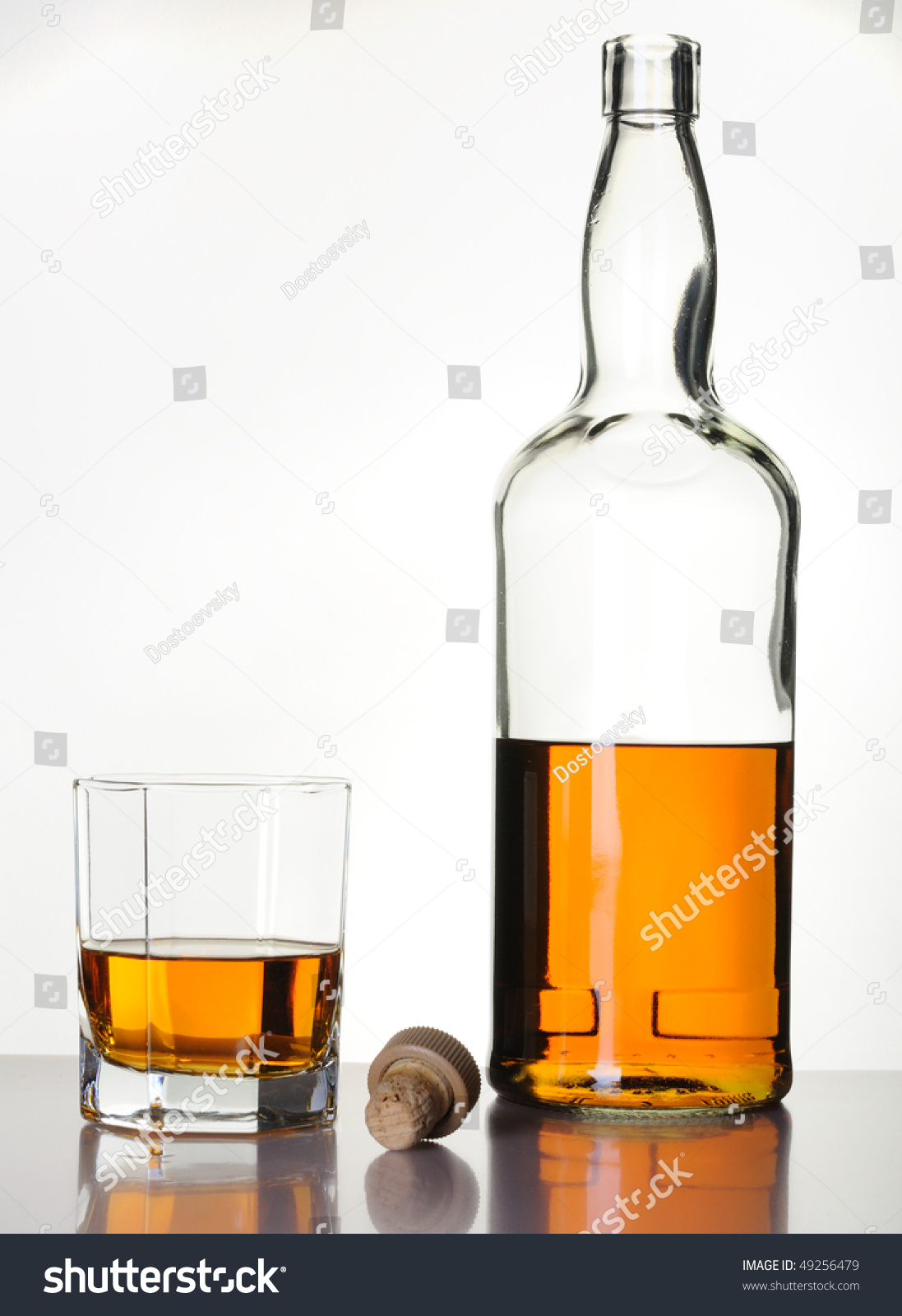 Whiskey Glass & Bottle stock image. Image of malt, cold ... |Whisky Bottle With Glass