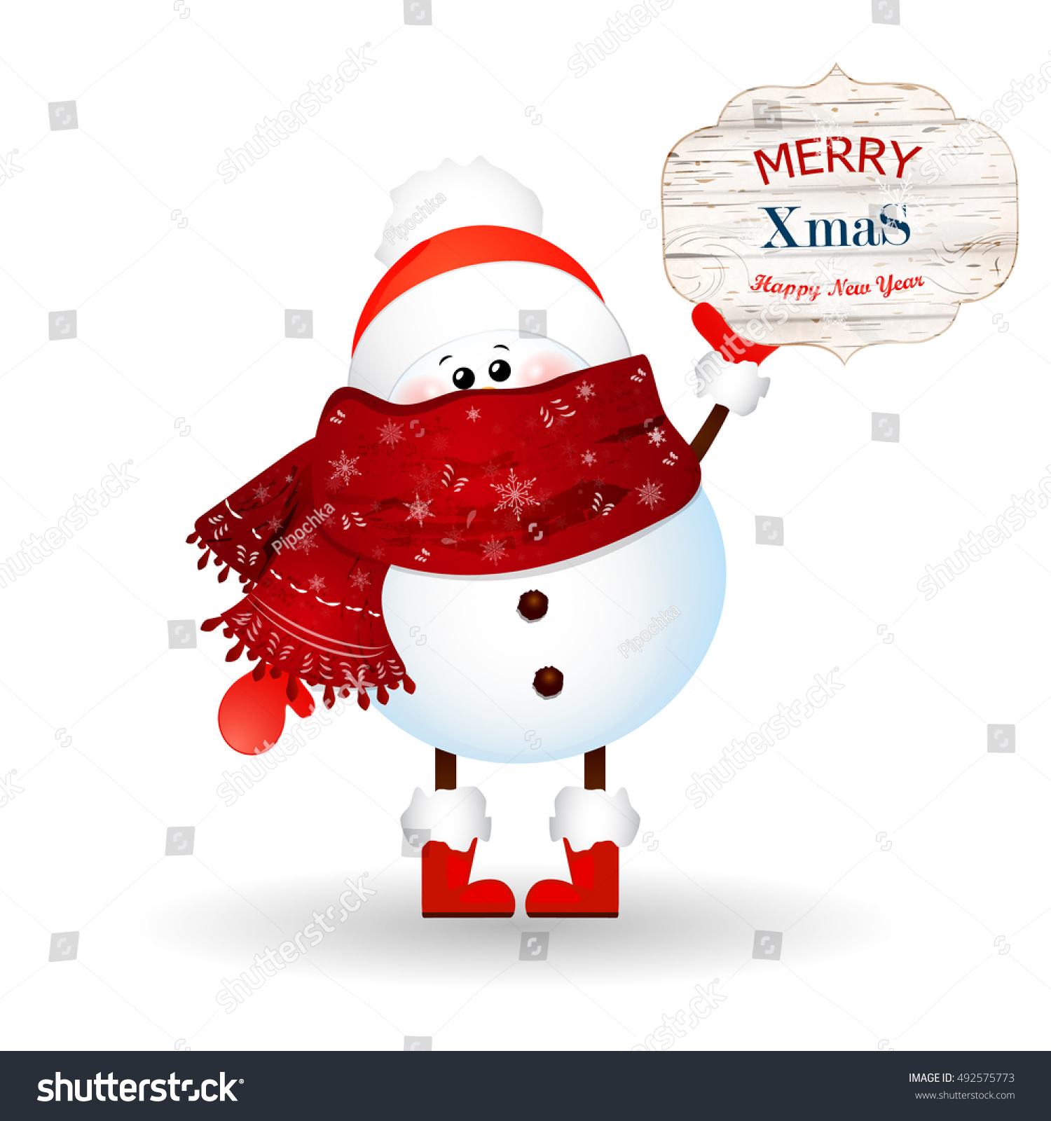 Cute Snowman Holds Banner Christmas Greetings Stock Vector Royalty