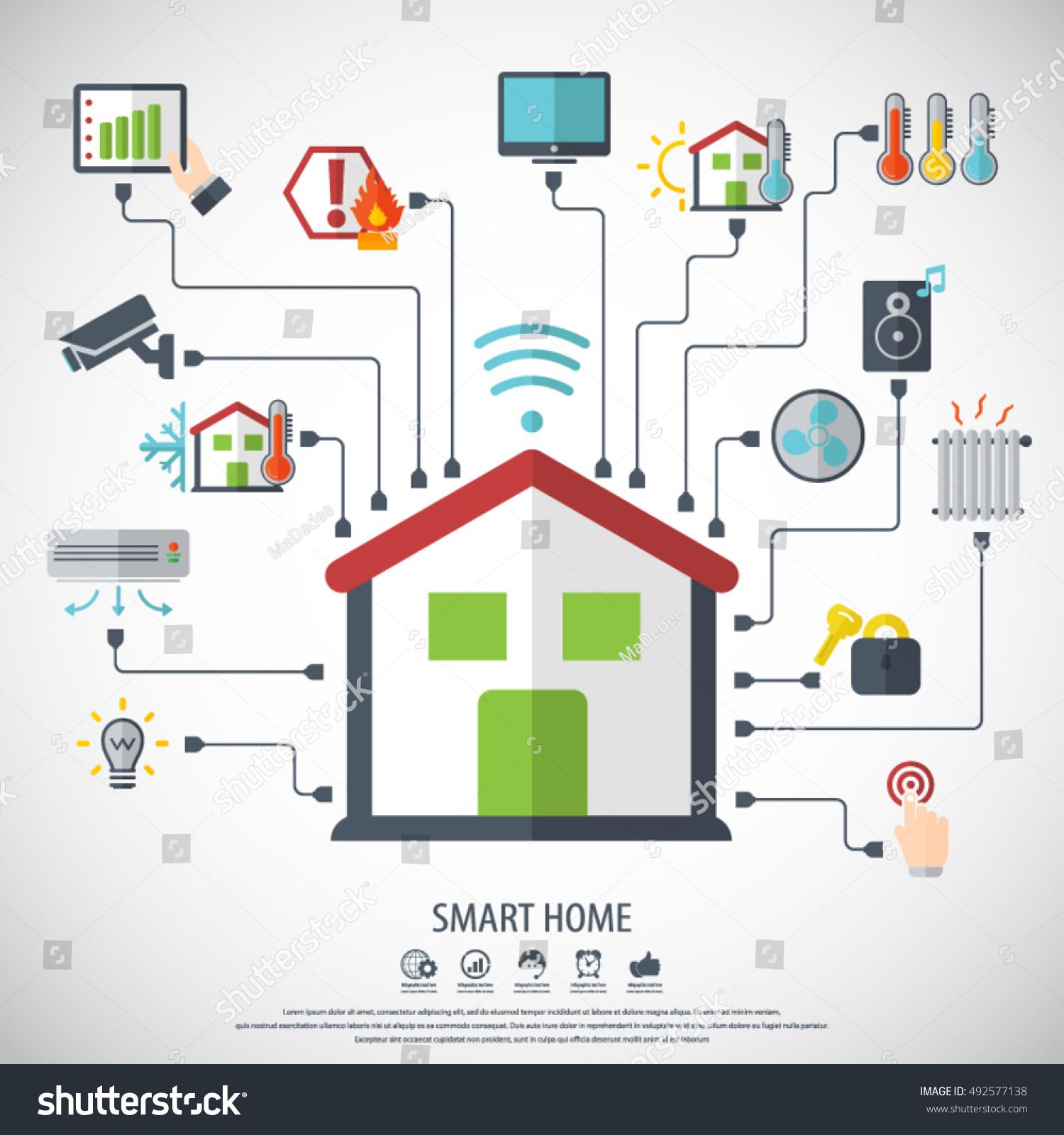 Smart Home Flat Design Style Vector Stock Vector 492577138 ...