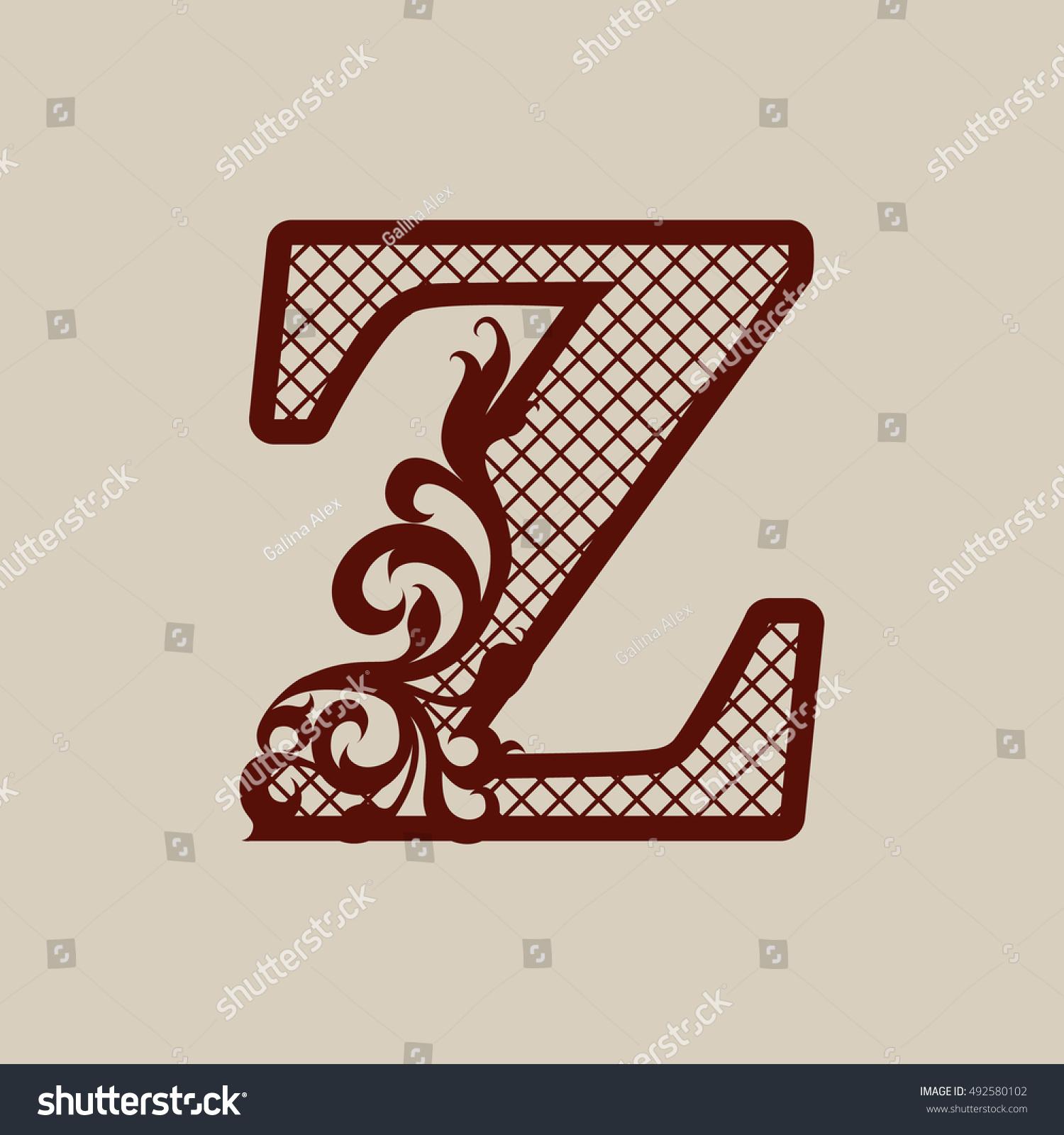 Carved Flower Pattern Elegant Monogram Initial Stock Vector (Royalty ...