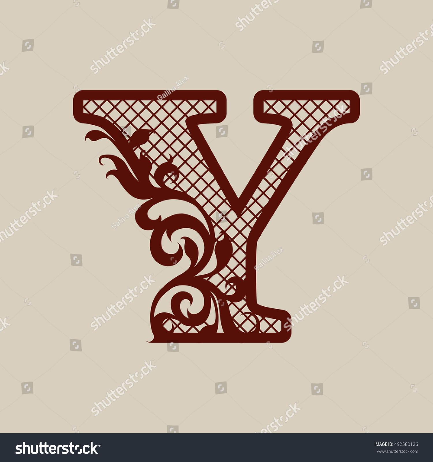 Carved Flower Pattern Elegant Monogram Letter Stock Vector (Royalty ...