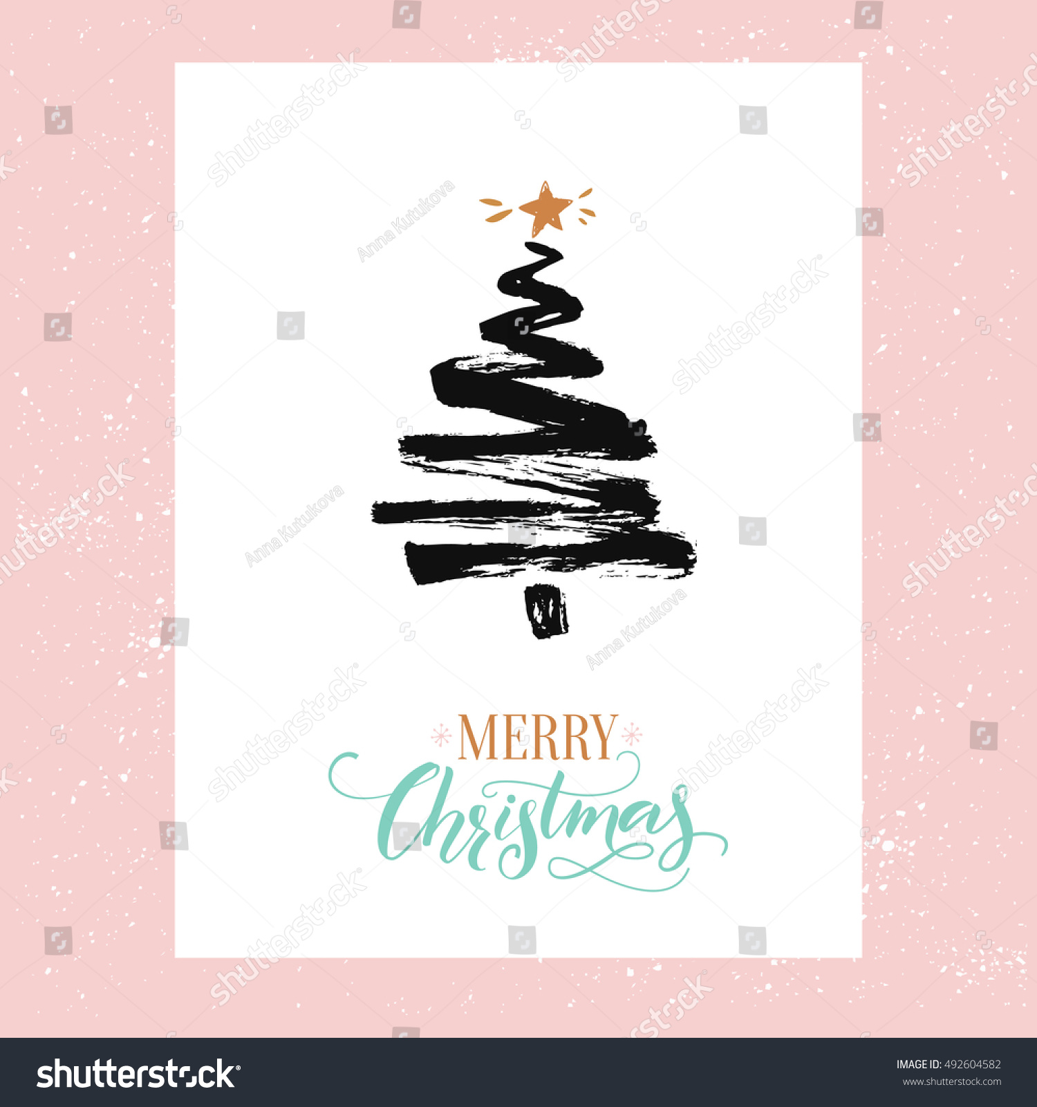 merry christmas card minimalism design simple stock vector royalty