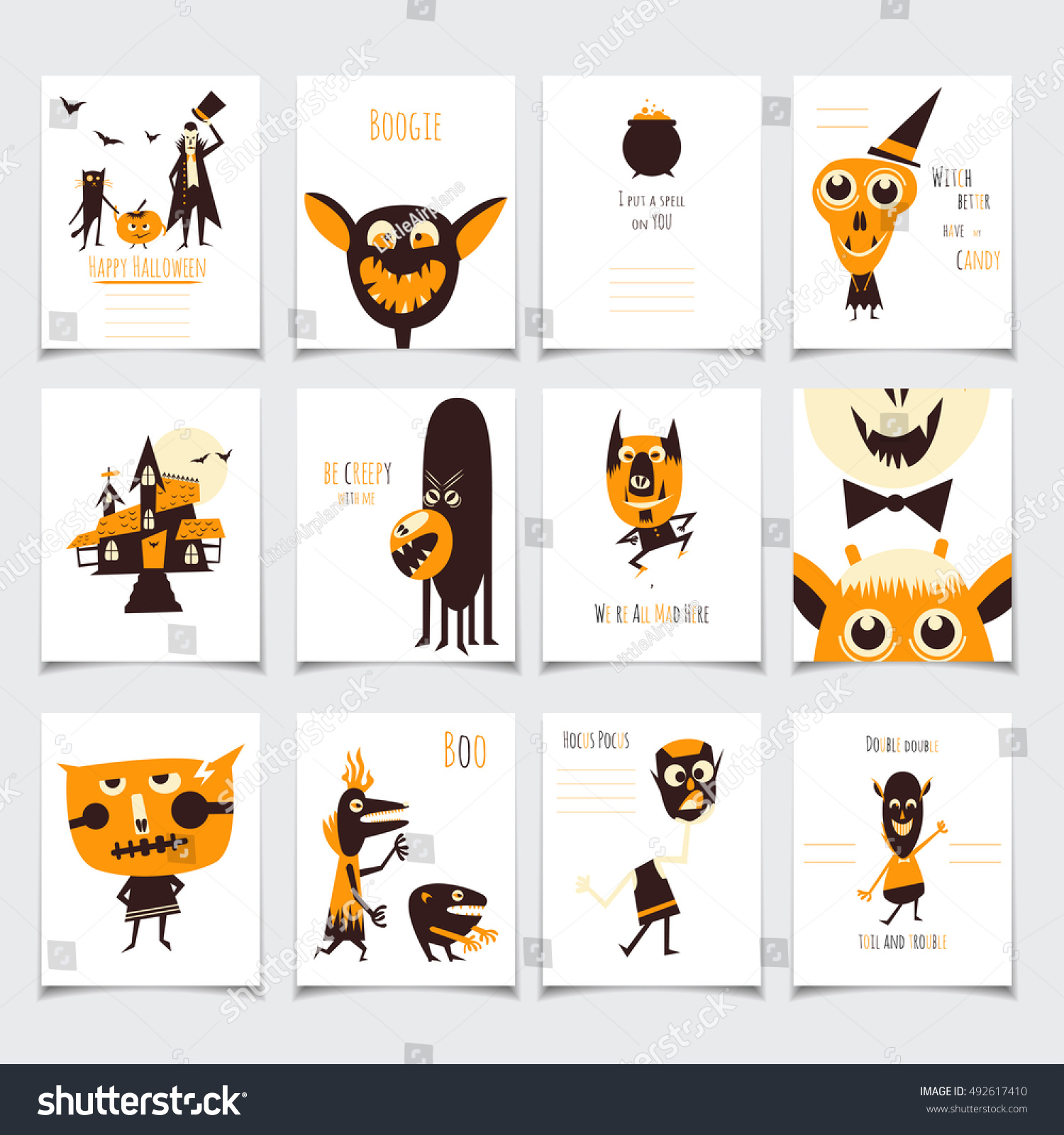 Vector Halloween Cards Set Funny Monsters Stock Vector Royalty Free