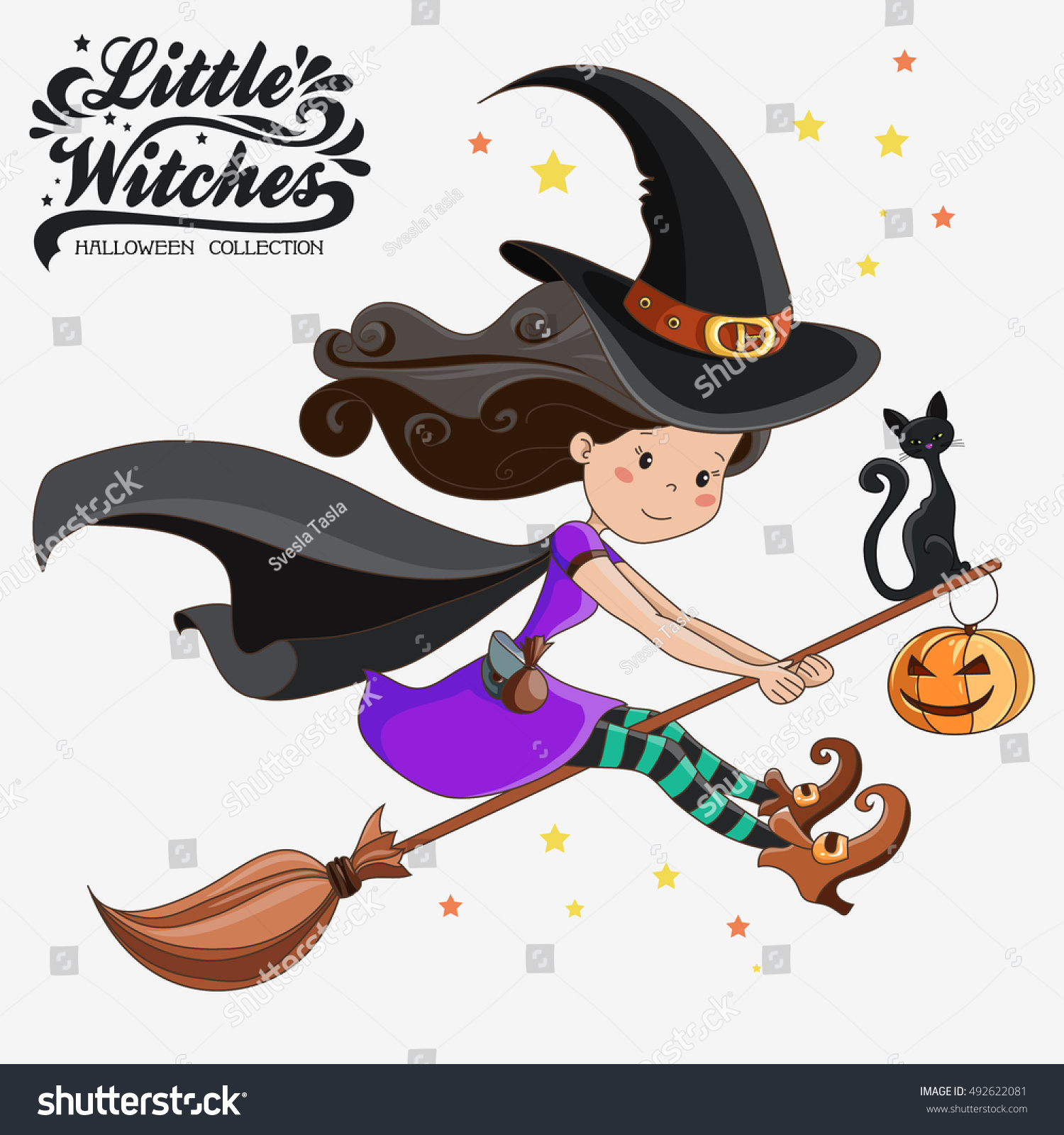little witch halloween witch halloween collection stock vector