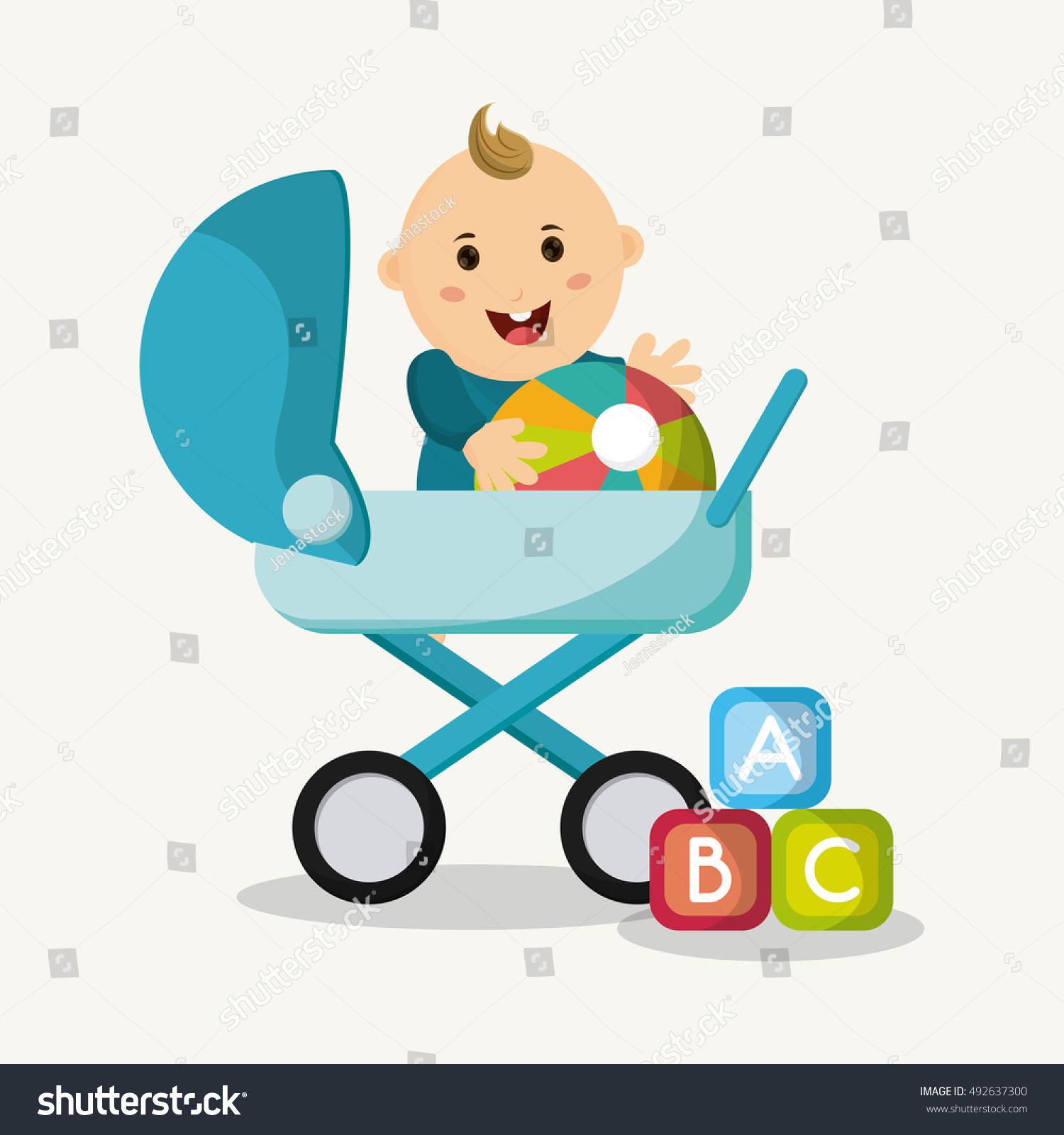 Baby Boy Cartoon Baby Shower Concept Stock Vector Royalty Free