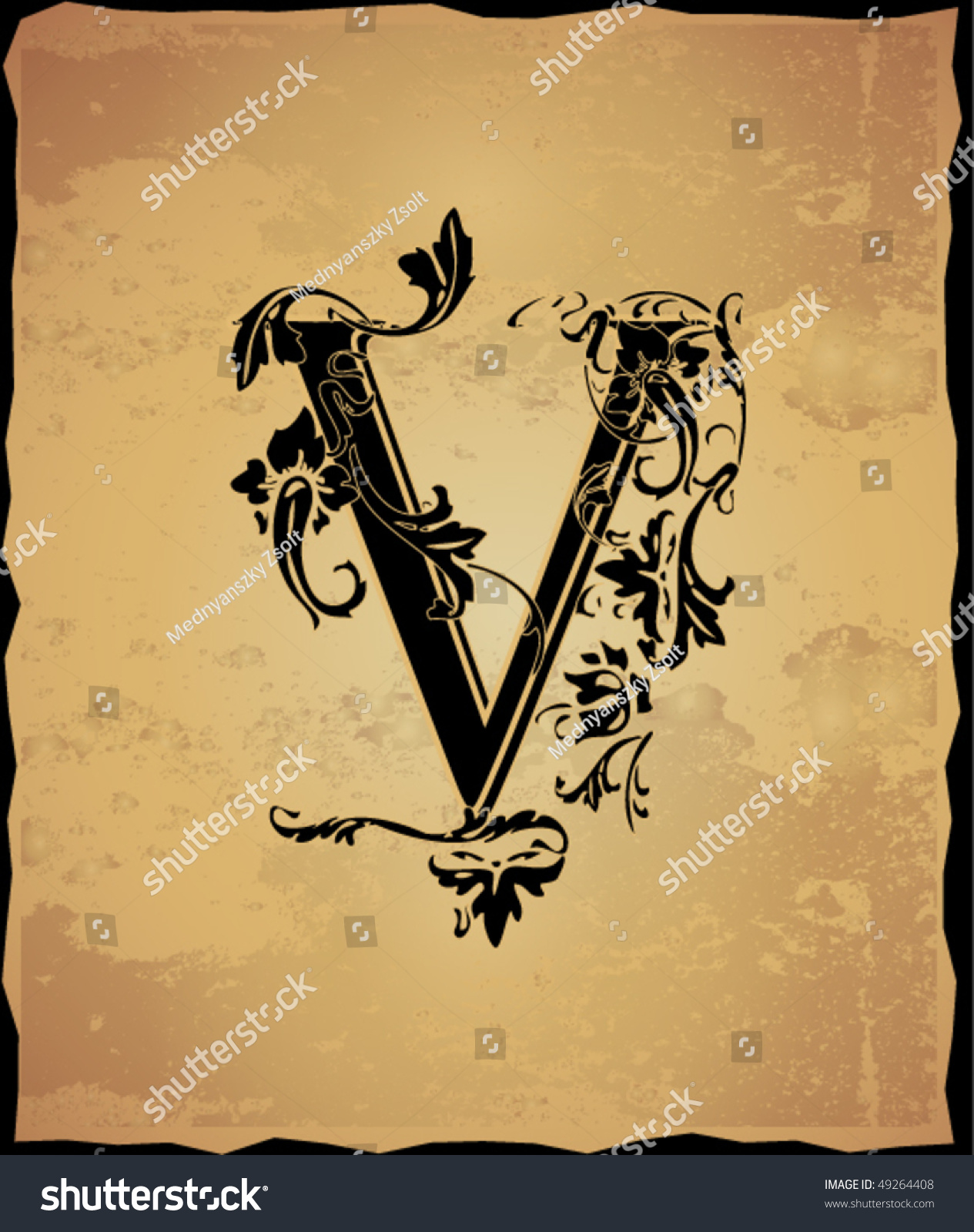Vintage initials letter v stock vector illustration 49264408