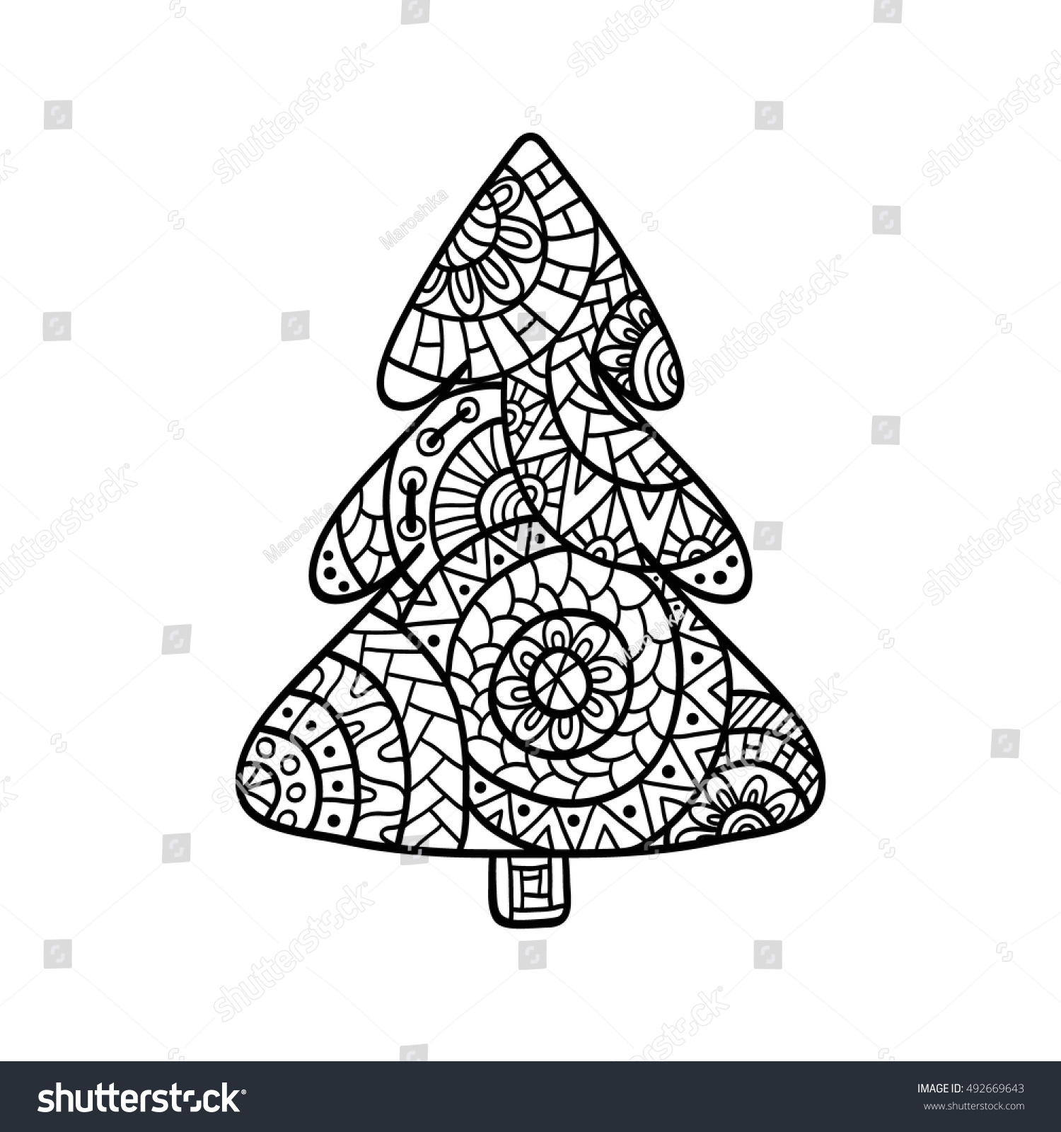 Christmas Tree Coloring Page High Details Stock Vector 492669643 ...