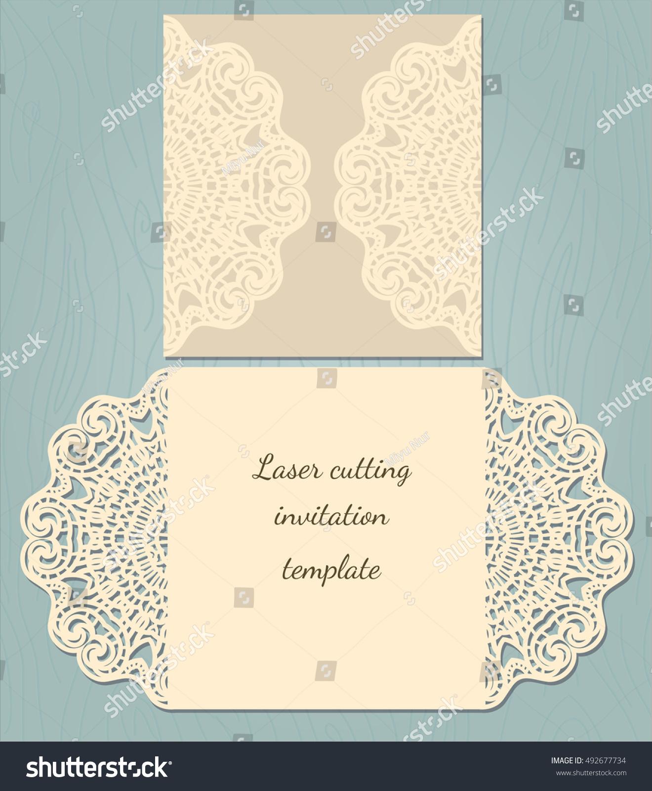 Laser Cut Wedding Invitation Card Template Stock Vector 492677734 ...