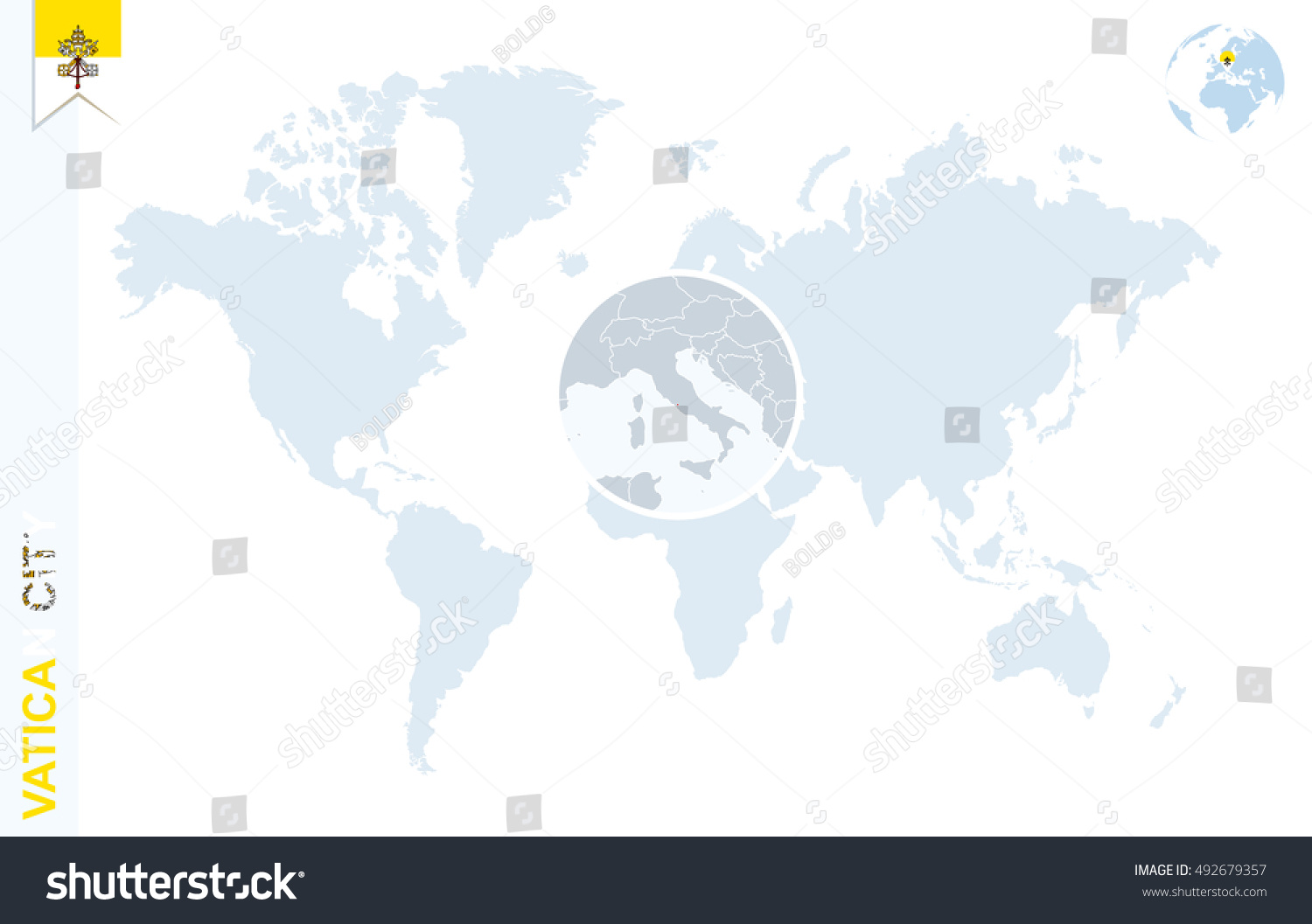 World map magnifying on vatican city stock illustration 492679357 world map with magnifying on vatican city blue earth globe with vatican city flag pin gumiabroncs Image collections