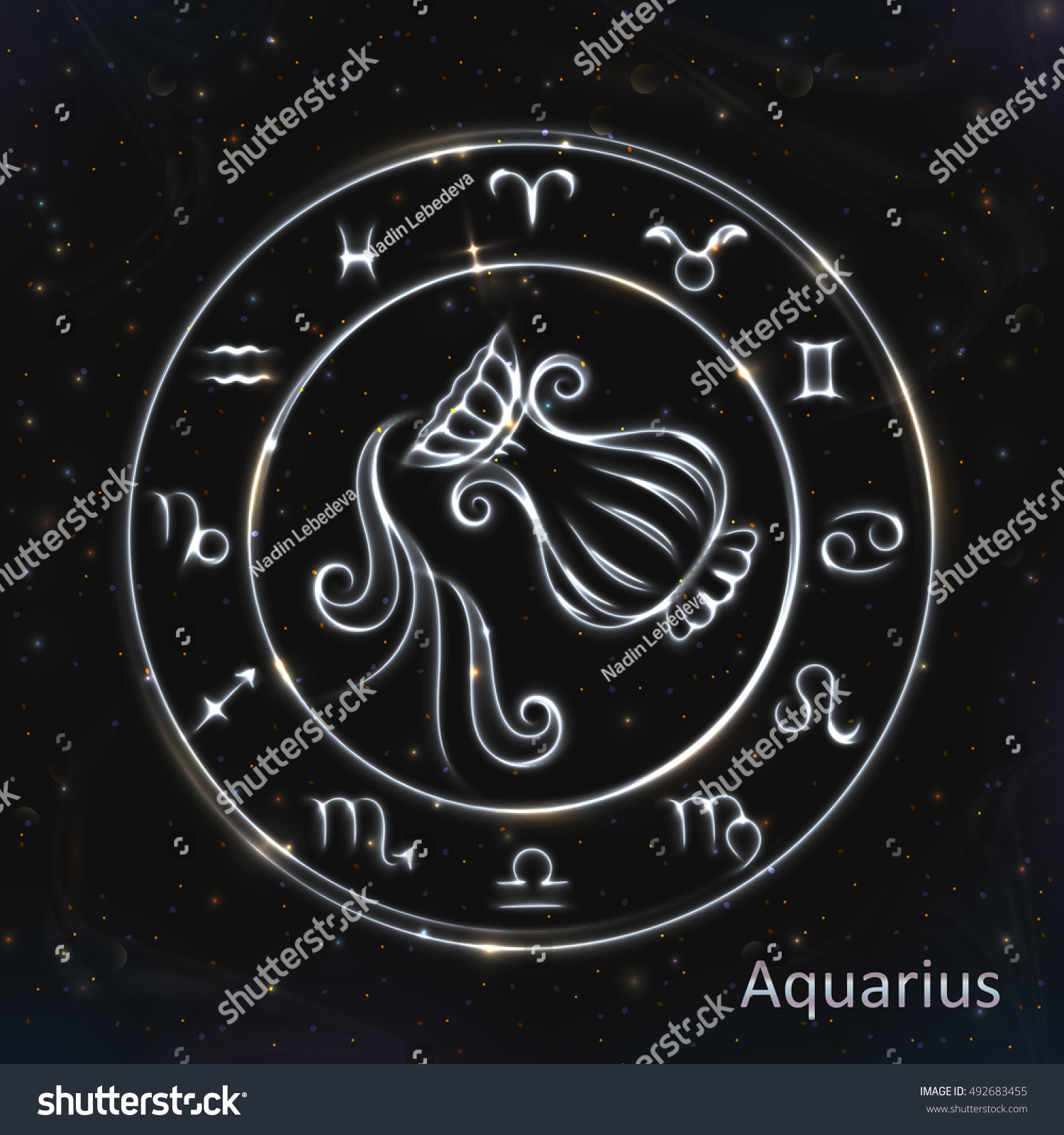 Vector Eps 10 Glowing Collection Astrology Stock Vector Royalty