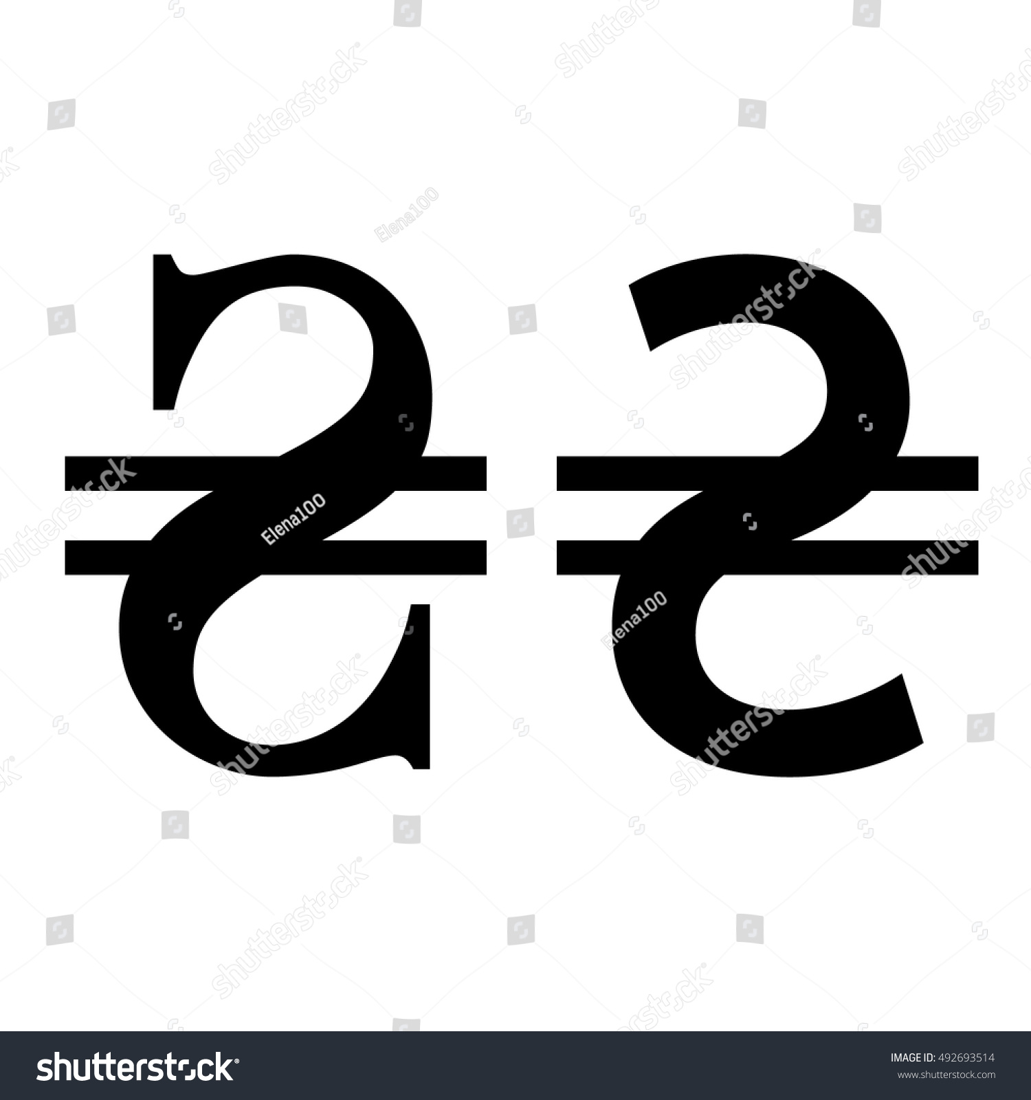 Ukrainian Uah Currency Symbol Stock Vector Royalty Free 492693514