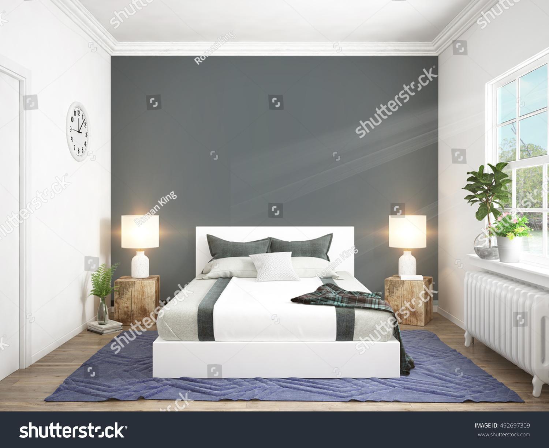 Modern Bright Interior 3d Rendering Stock Illustration