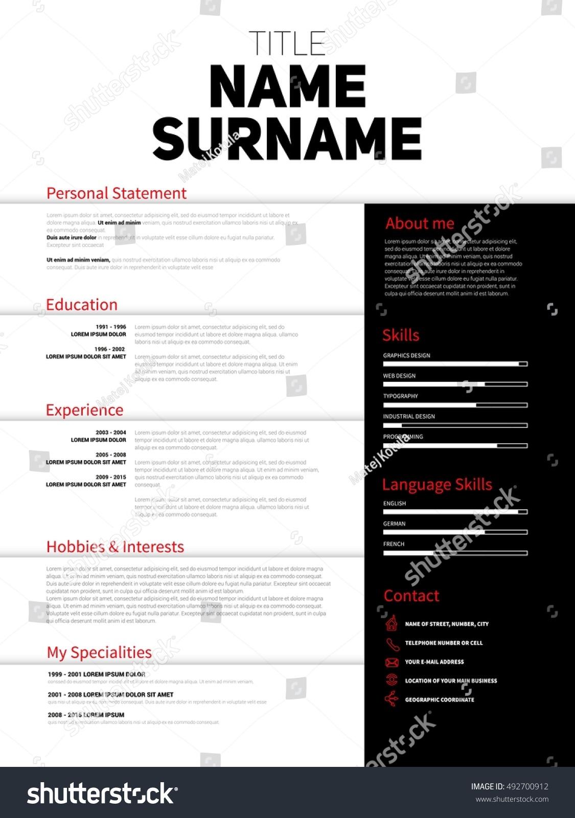 Resume Minimalist CV Resume Template Simple Stock Vector (Royalty ...