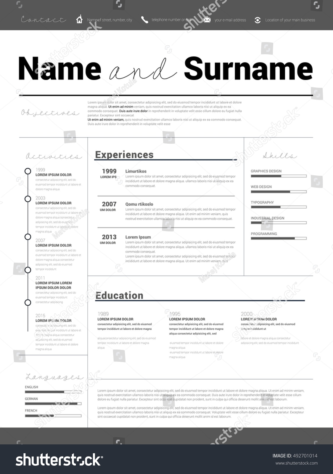 resume minimalist cv resume template simple stock vector 492701014