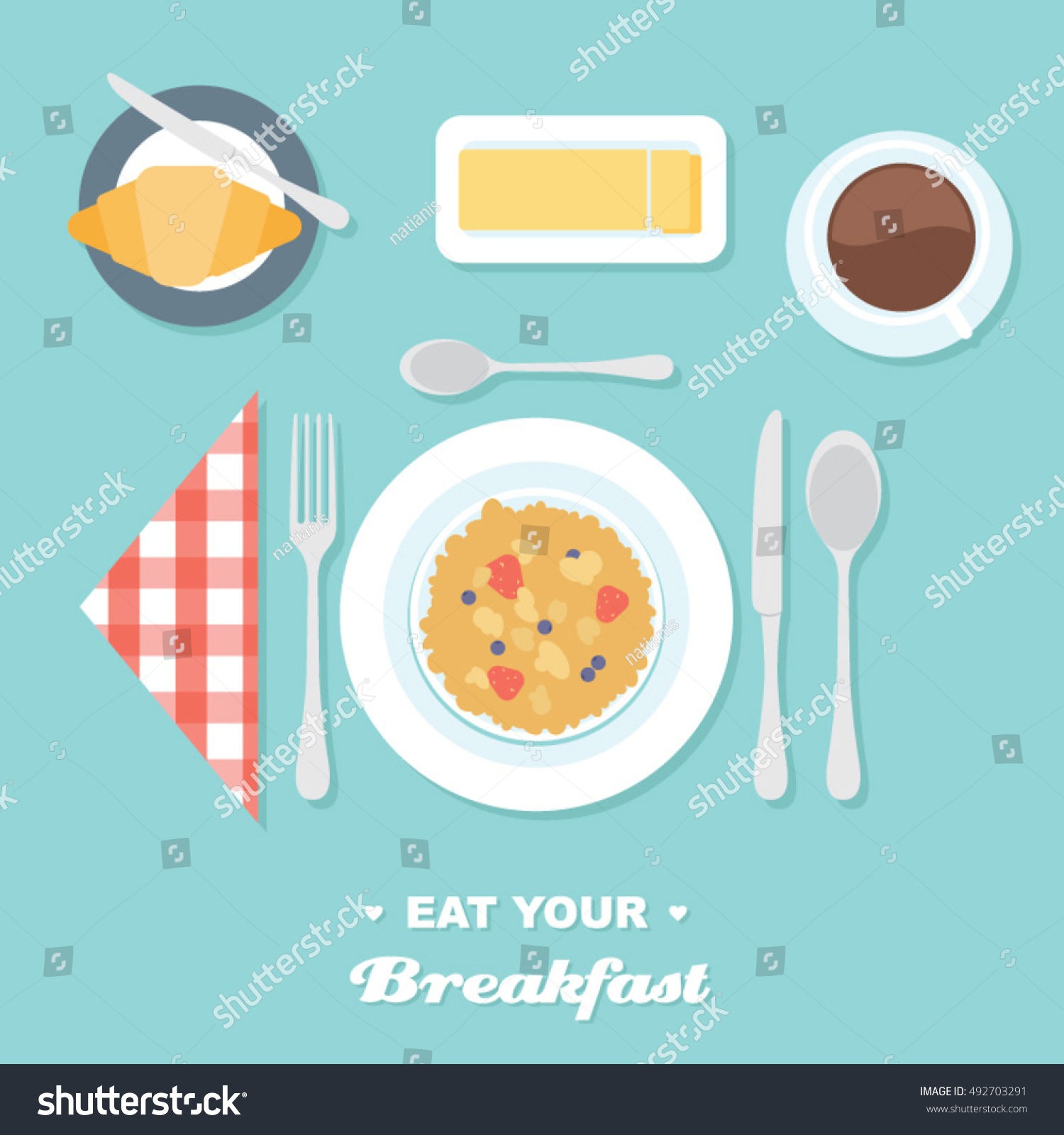 Table Setting For Breakfast Breakfast Table Setting Cereal Flat Vector Stock Vector 492703291