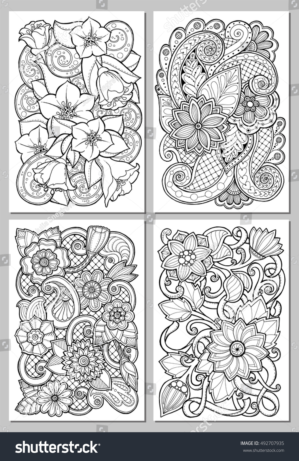 Greeting cards abstract flowers pages adult stock vector royalty greeting cards with abstract flowers pages for adult coloring book vintage hand drawn design m4hsunfo