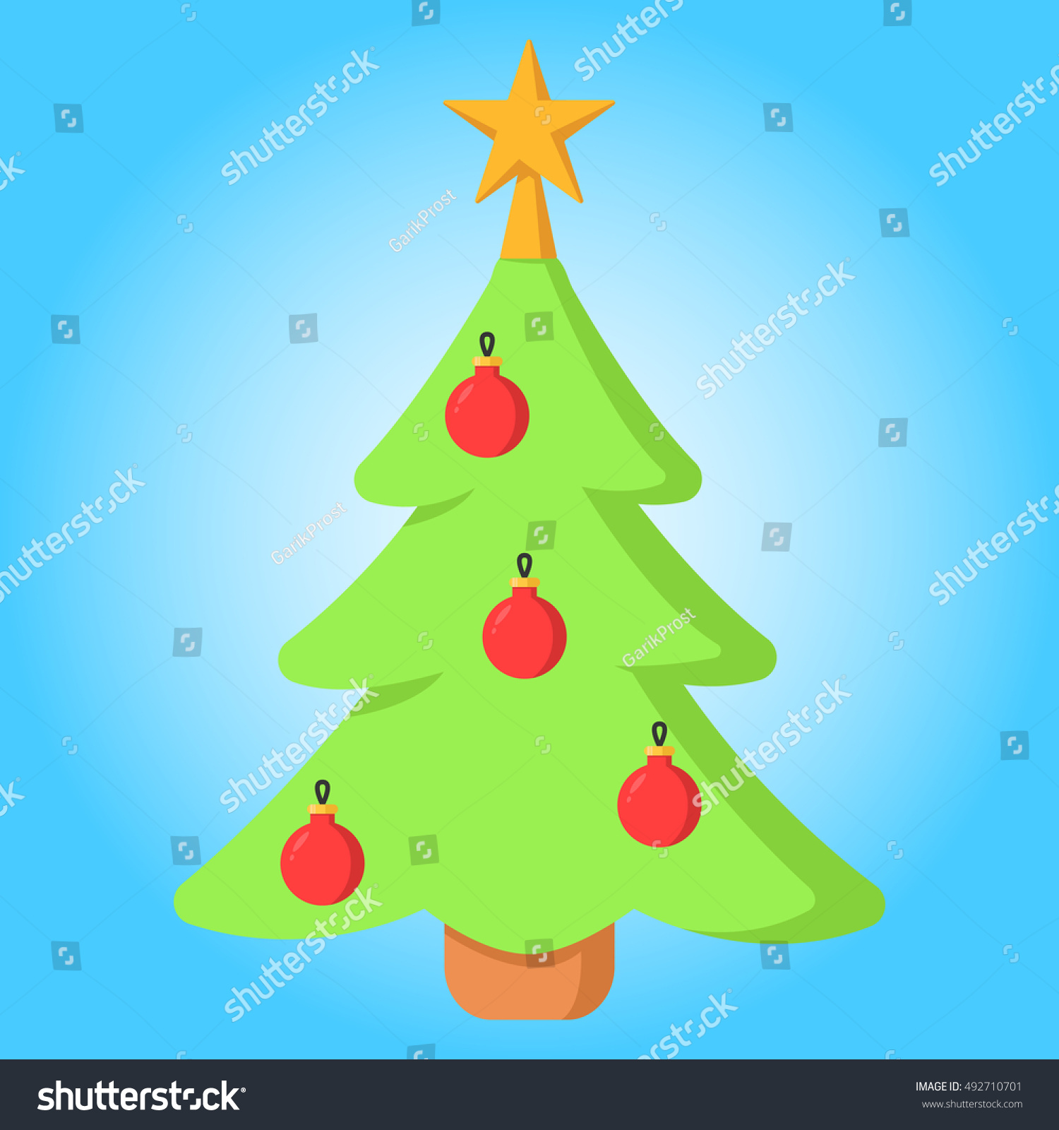 Merry Christmas Tree Garland Simple Color Stock Vector 492710701 ...