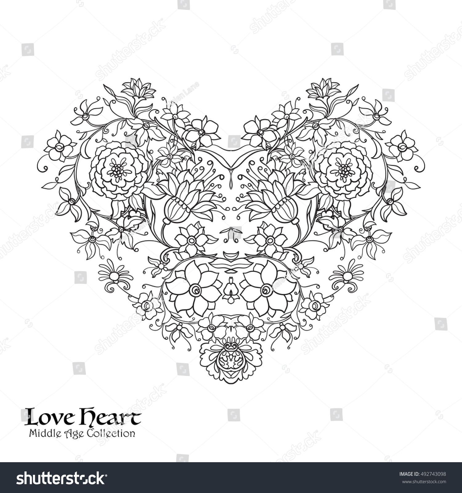 Coloring page birthday invitaion - Decorative Love Heart In Baroque Royal Style Good For Greeting Card For Birthday