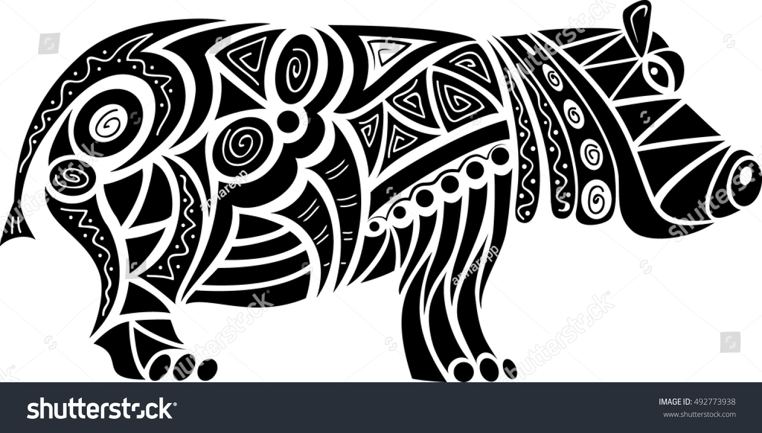 Stock Illustration Volleyball Tribal Abstract Vector: Abstract Tribal Pattern Hippo Silhouette Vector Stock