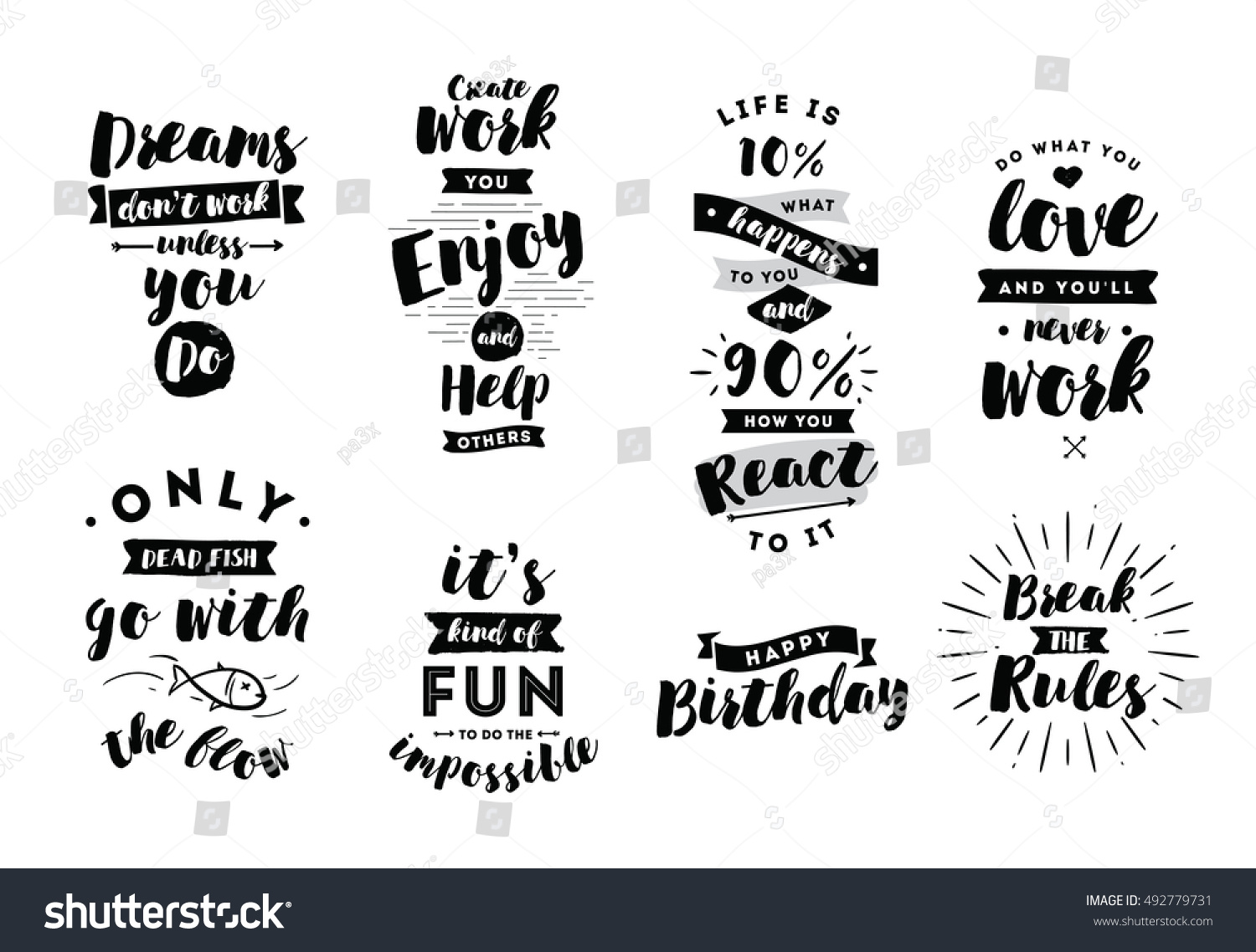 Inspirational quotes set motivation typography posters stock vector inspirational quotes set motivation typography for posters invitations greeting cards or t m4hsunfo
