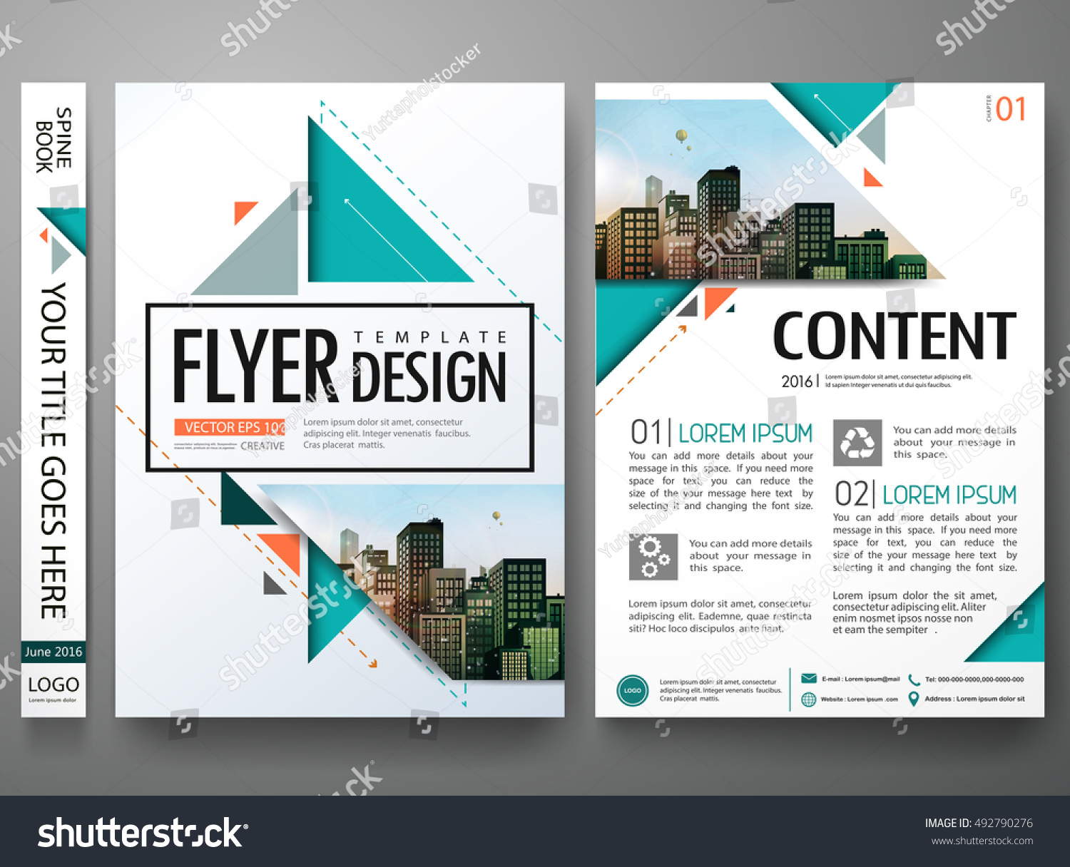 Flyers Design Template Vector Brochure Report Stock Vector