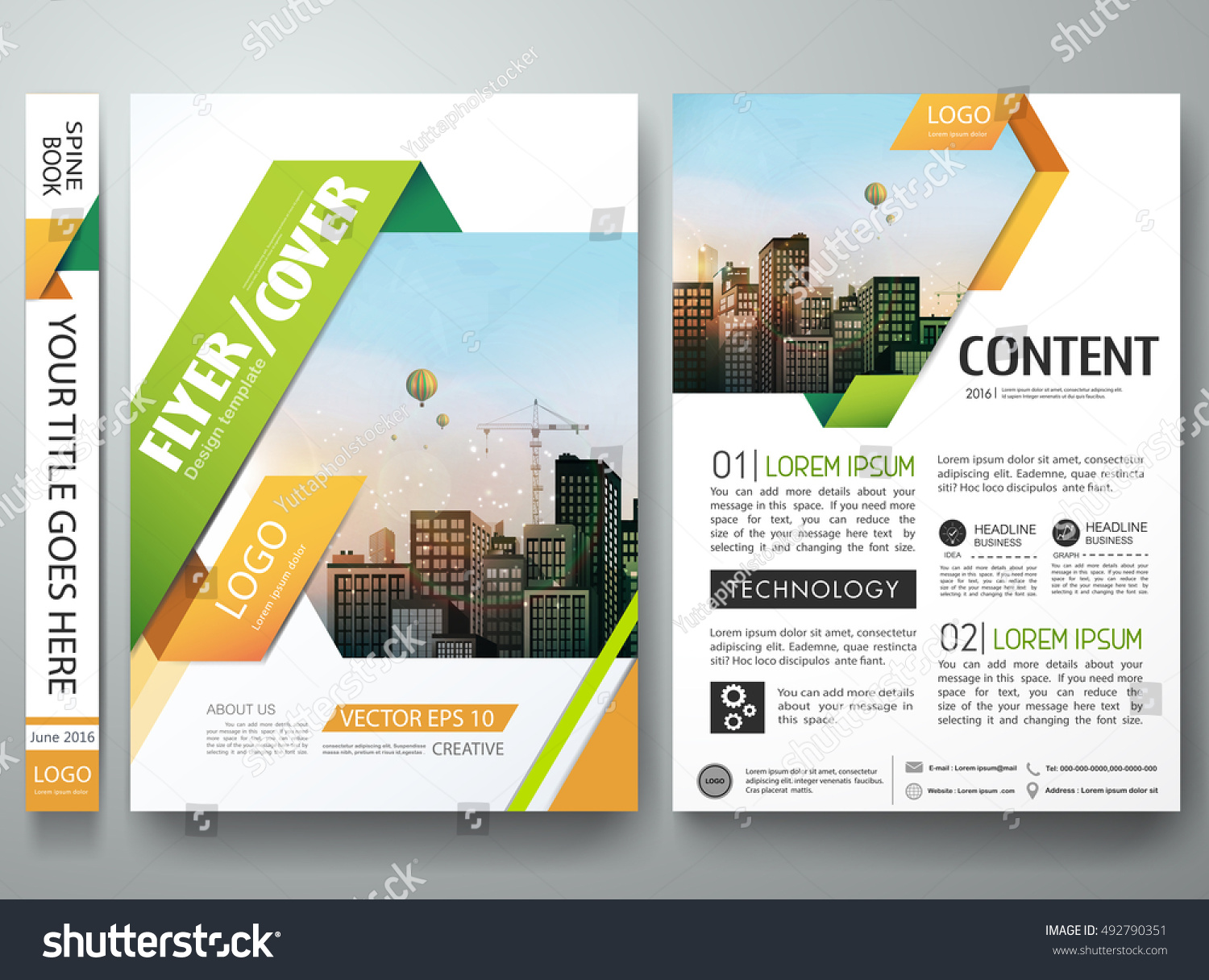 Business Book Cover Vector ~ Brochure design template vector flyers report stock