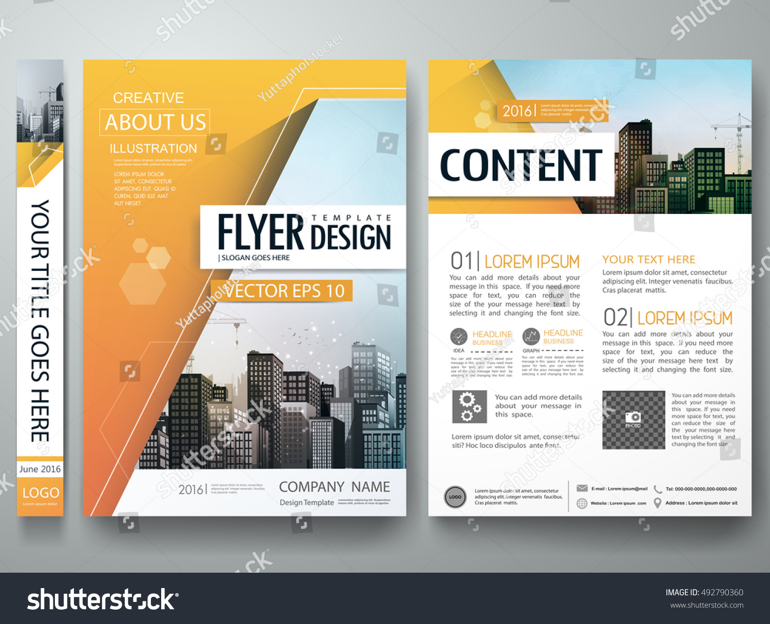 brochure design template vector city concept stock vector