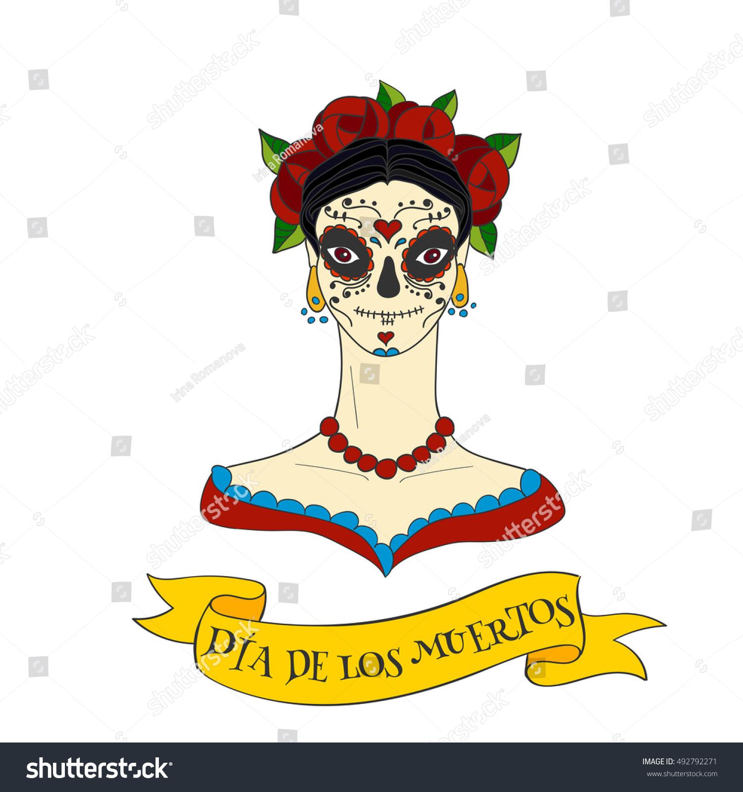 Sugar Skull Woman Dia De Los Stock Vector Royalty Free 492792271