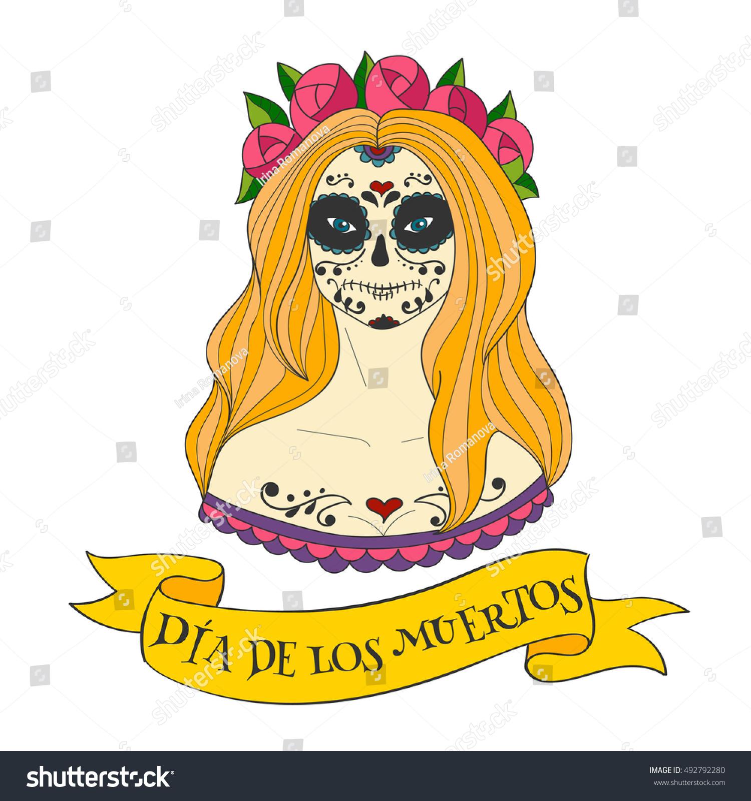 Sugar Skull Woman Dia De Los Stock Vector Royalty Free 492792280