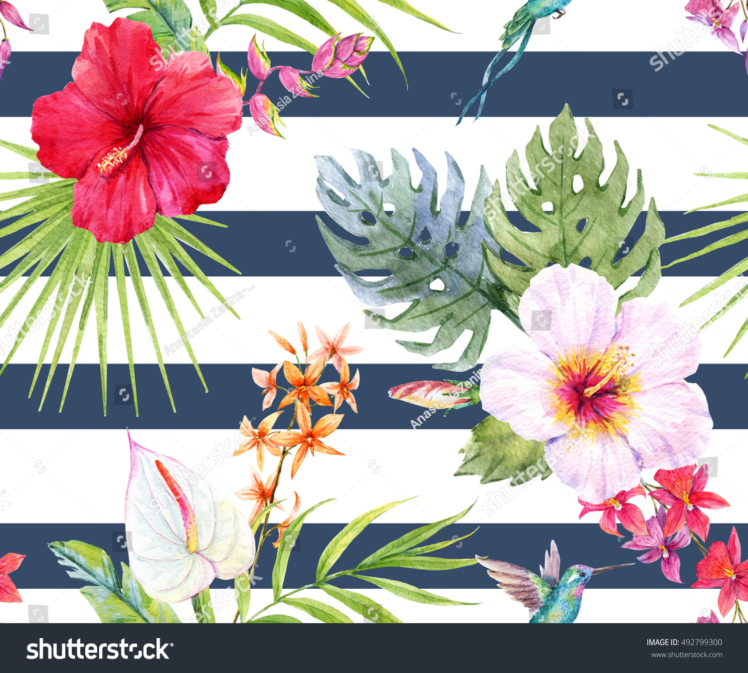 Watercolor Tropical Flower Pattern Hibiscus Flowers Stock