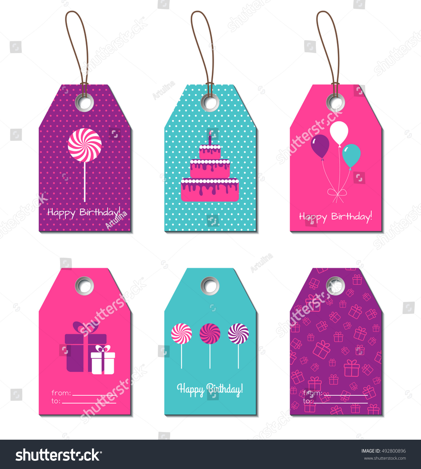Happy Birthday Gift Tags Vector Cards Labels For Design