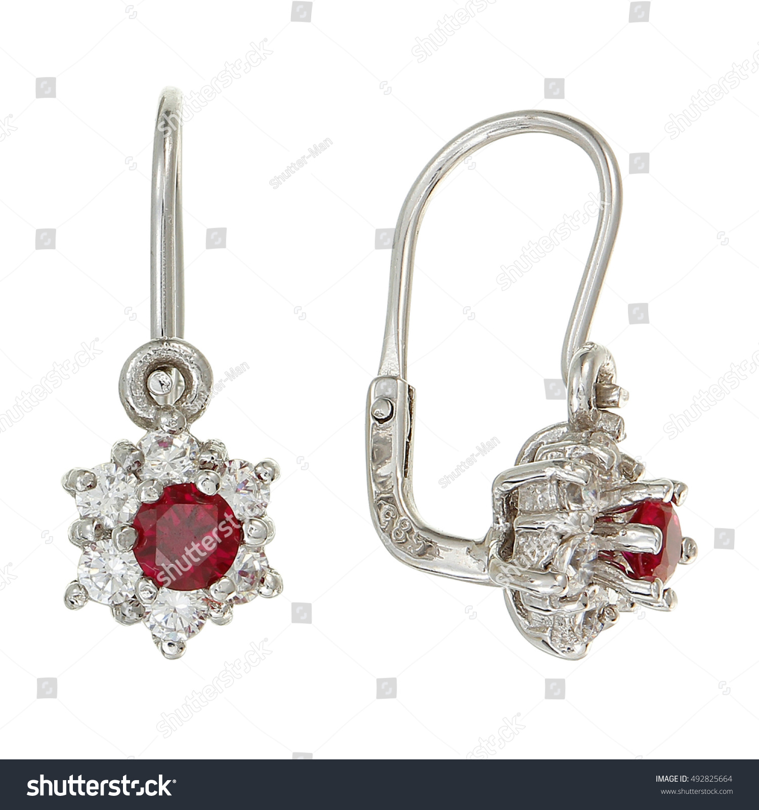 ruby earrings for babies children earrings ruby stock photo 492825664 7436