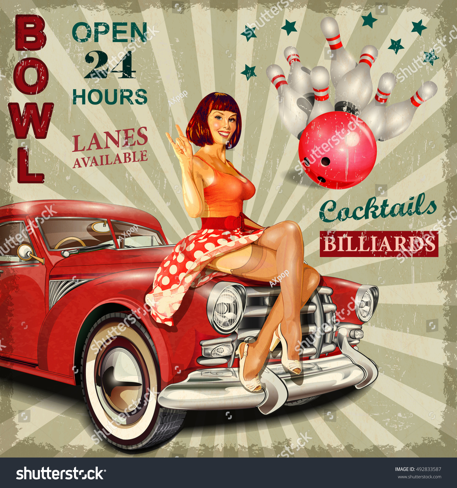 Bowling Vintage Poster Pinup Girl Retro Stock Vector ...
