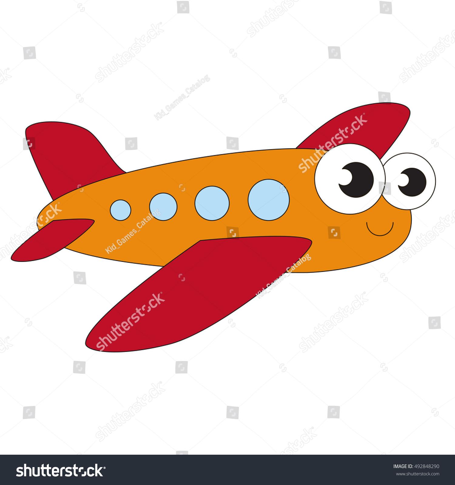 Orange Plane Cartoon Outlined Flying Vehicle Stock Vector 492848290 ...