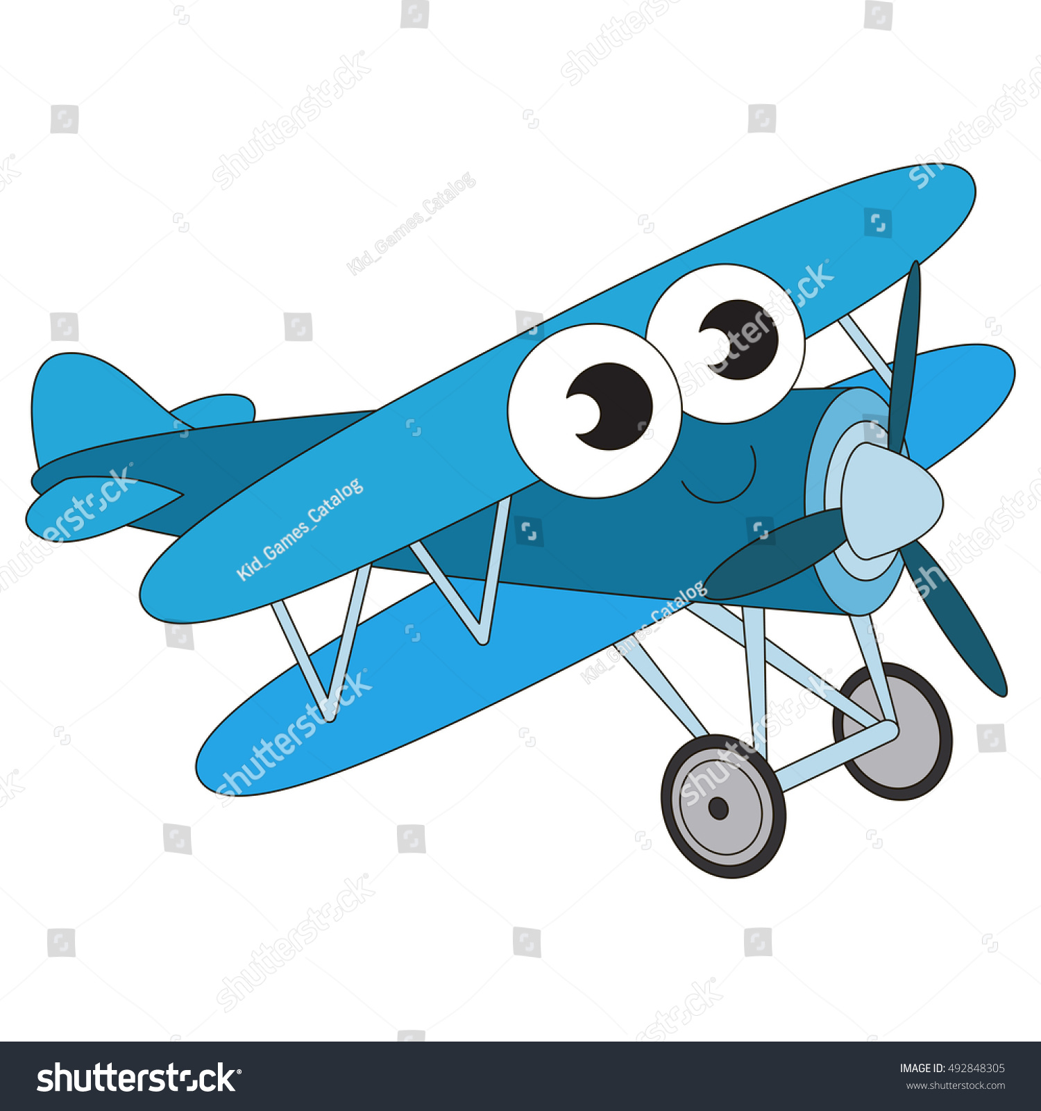 blue biplane cartoon outlined flying vehicle stock vector