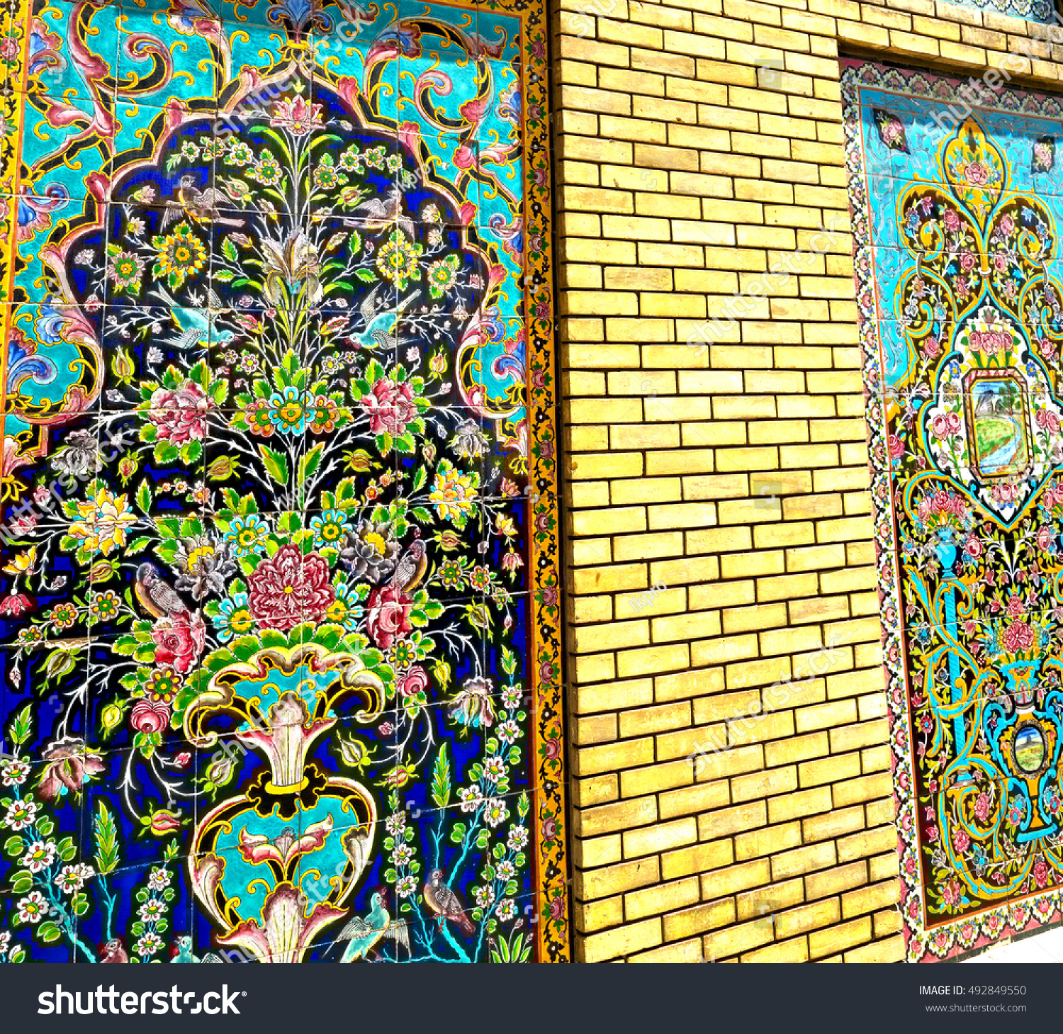 blur in iran the old decorative flower tiles from antique mosque ...