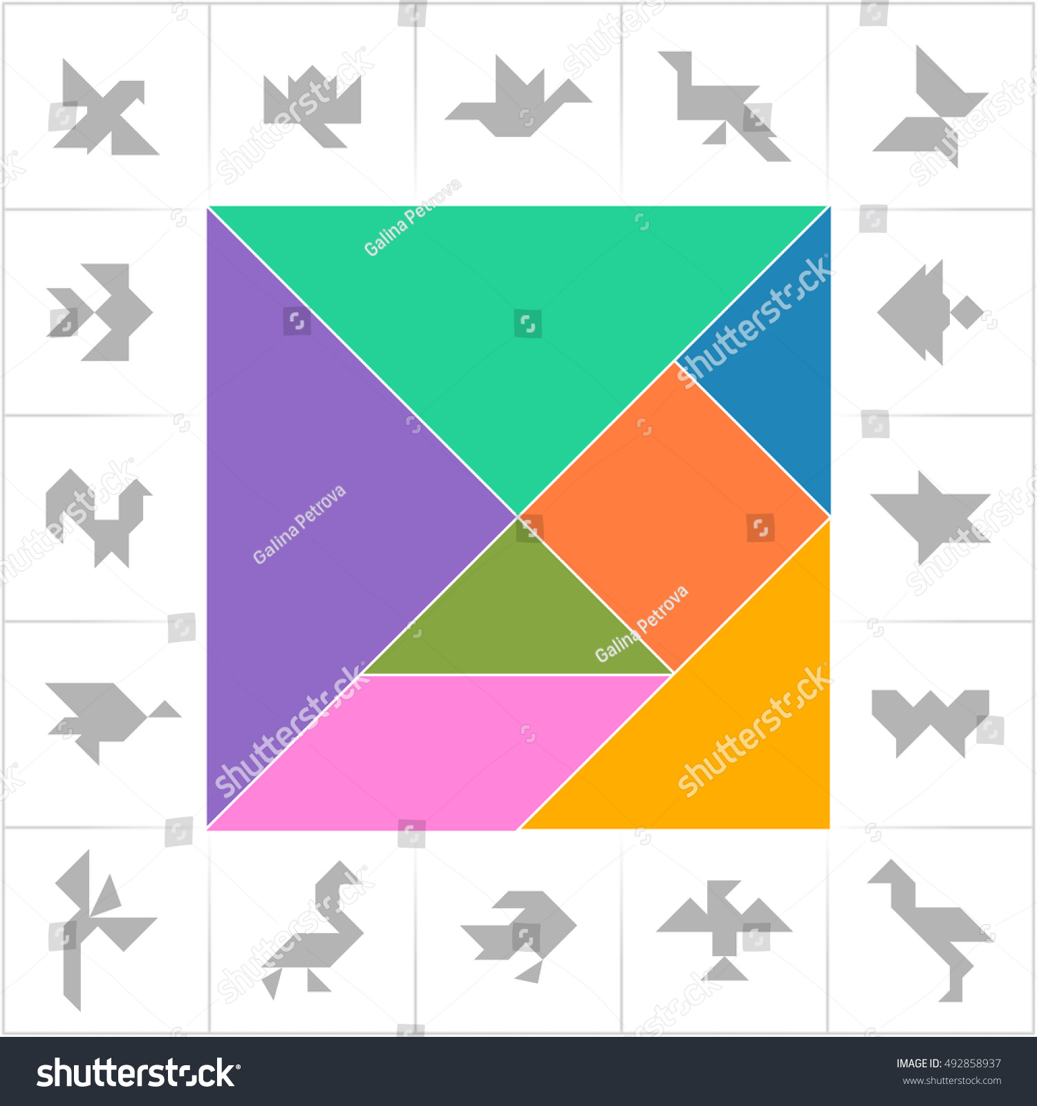 tangram set cards cut play fishes image vectorielle 492858937