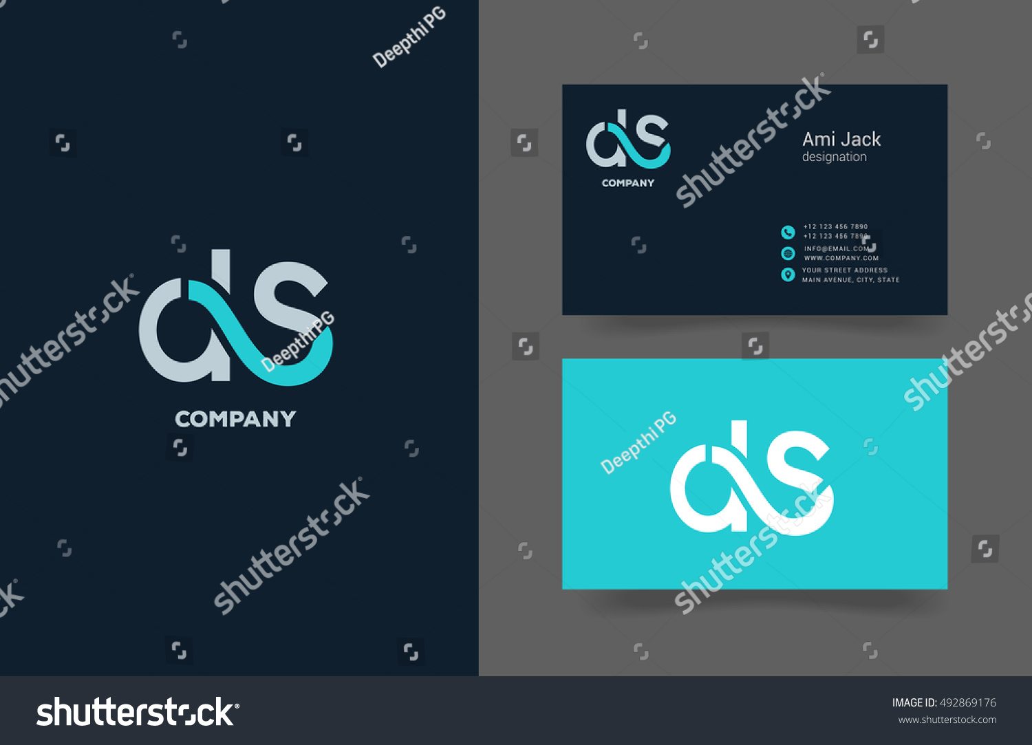 D S Letter Logo Business Card Stock Vector HD (Royalty Free ...