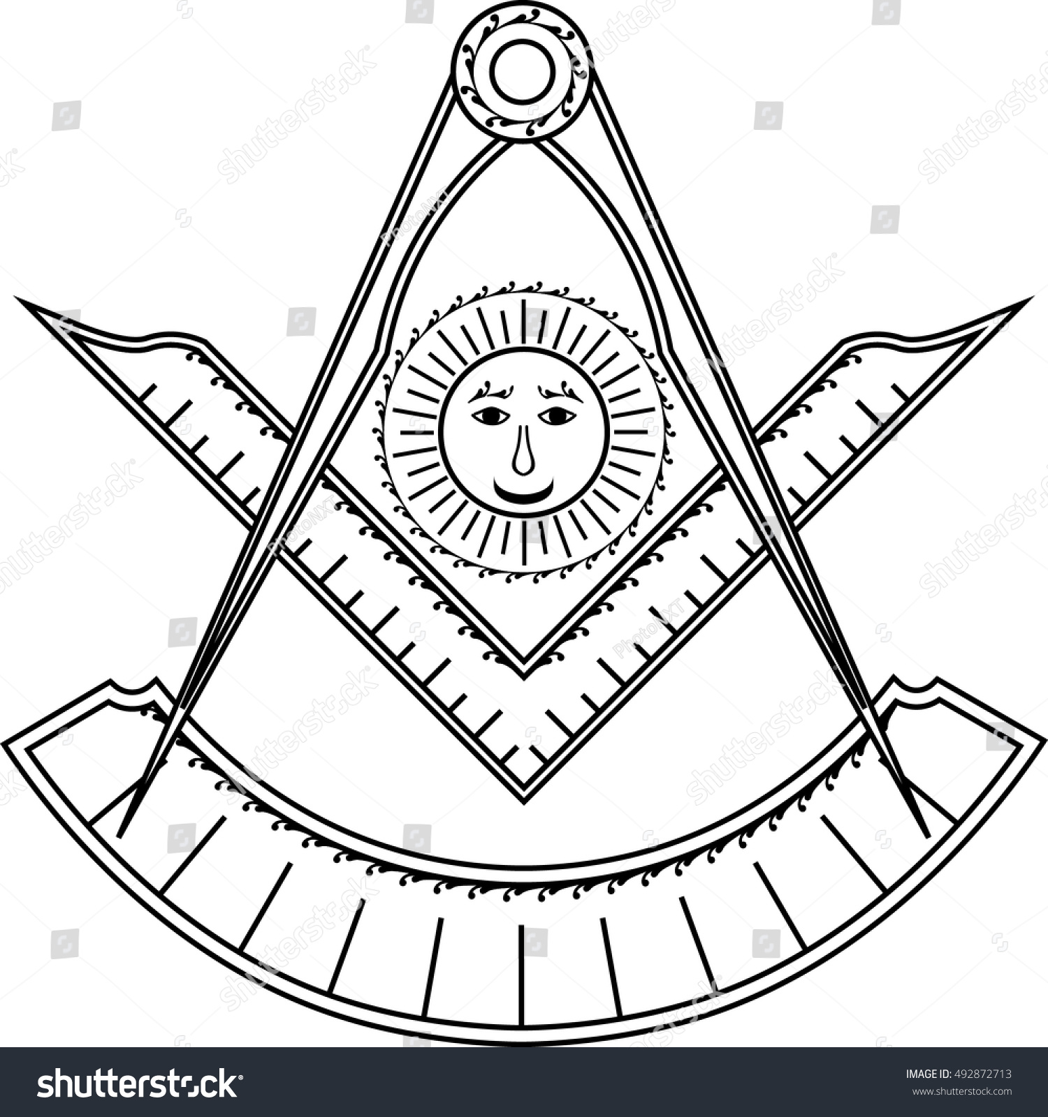 Square Compass Sun Protractor Jewel Past Stock Vector
