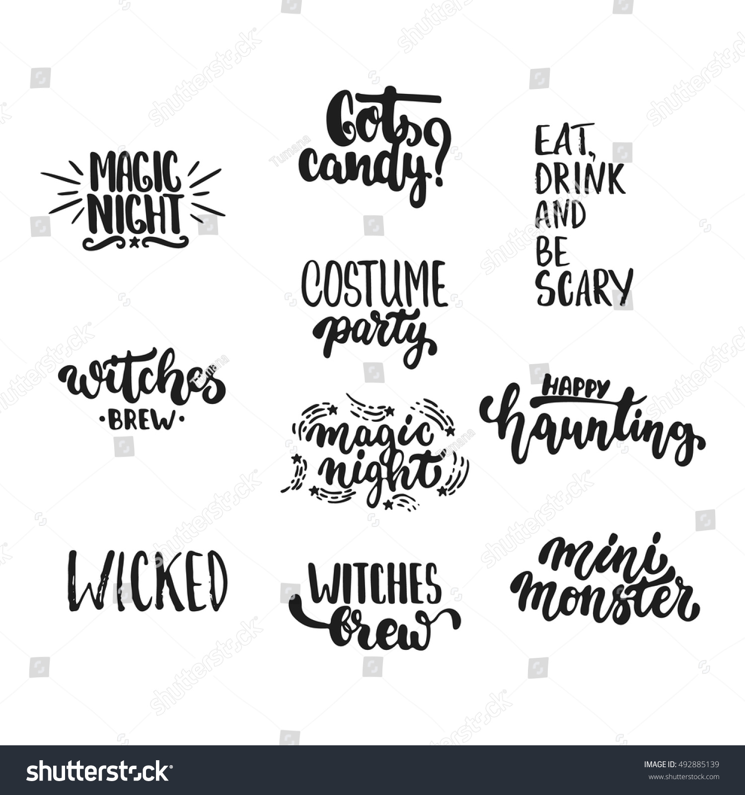 Halloween Phrases.Halloween Party Hand Drawn Lettering Phrases Stock Vector Royalty Free 492885139