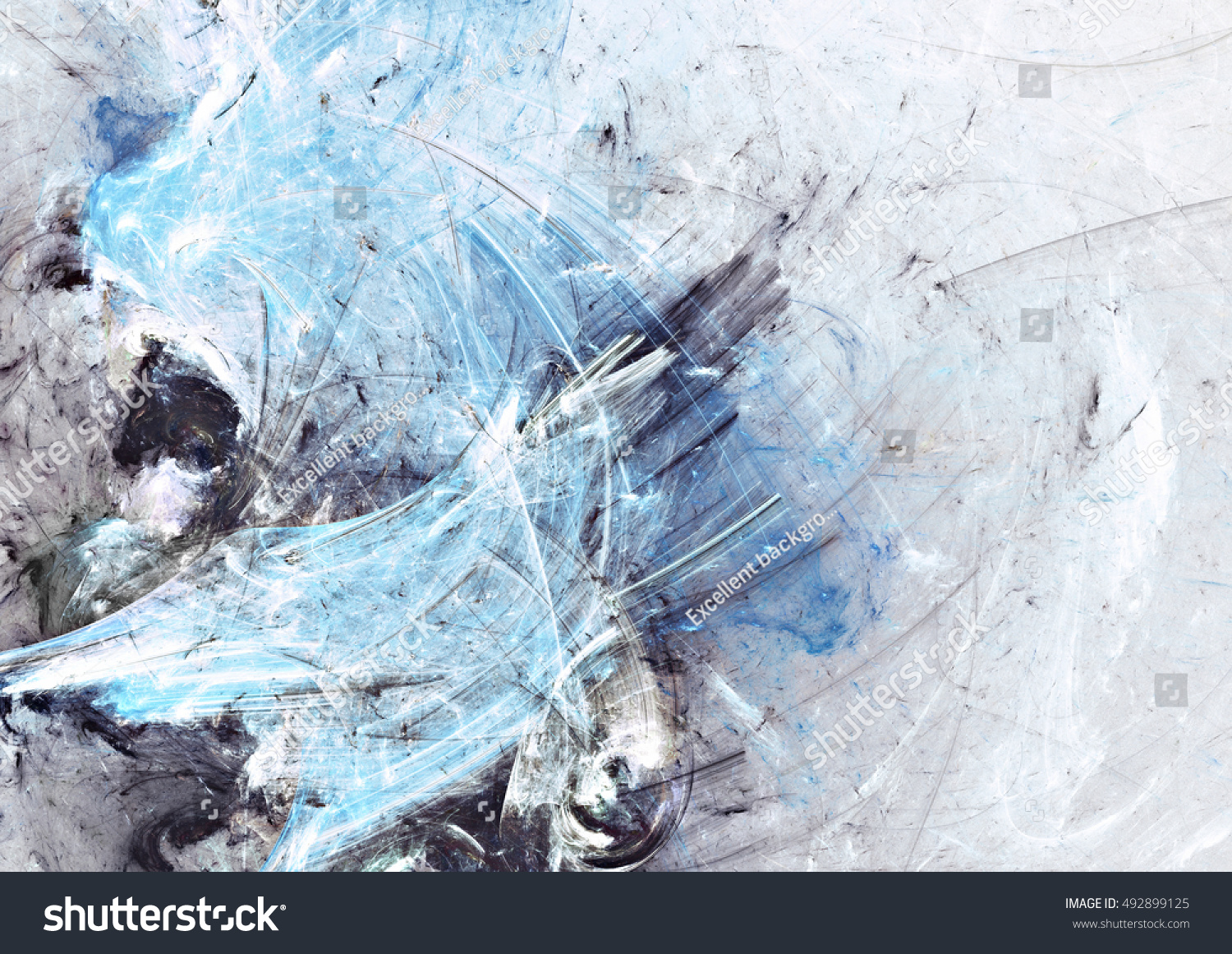 Abstract Beautiful Blue Grey White Icy Stock Illustration